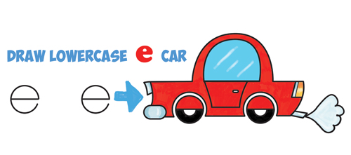 How to Draw a Cartoon Car from Lowercase Letter e Shapes - Easy Drawing Tutorial for Kids