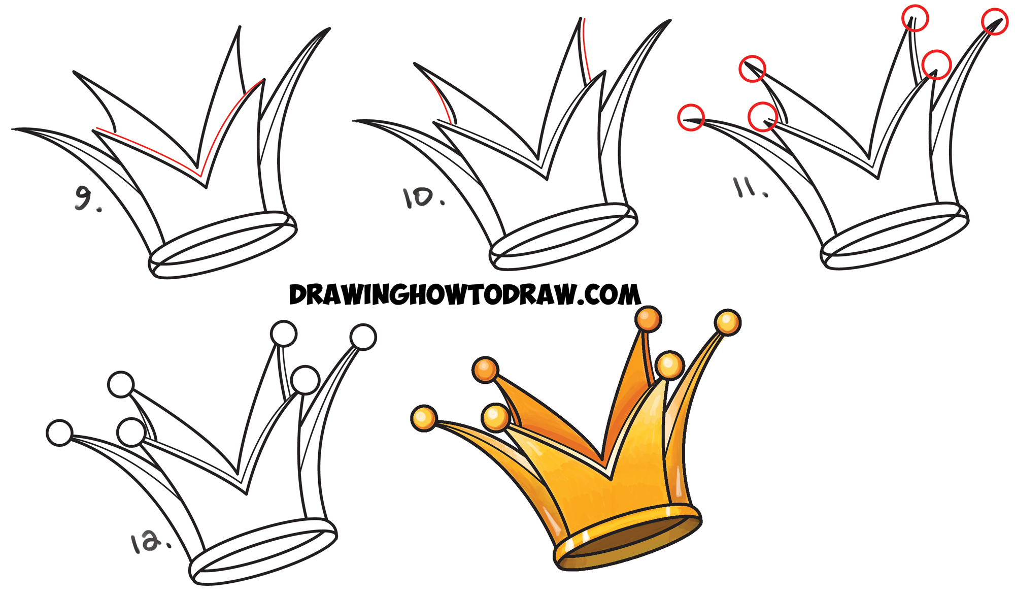 Learn How to Draw a Crown - Drawing Cartoon Crowns - Simple Steps Drawing Art Lesson
