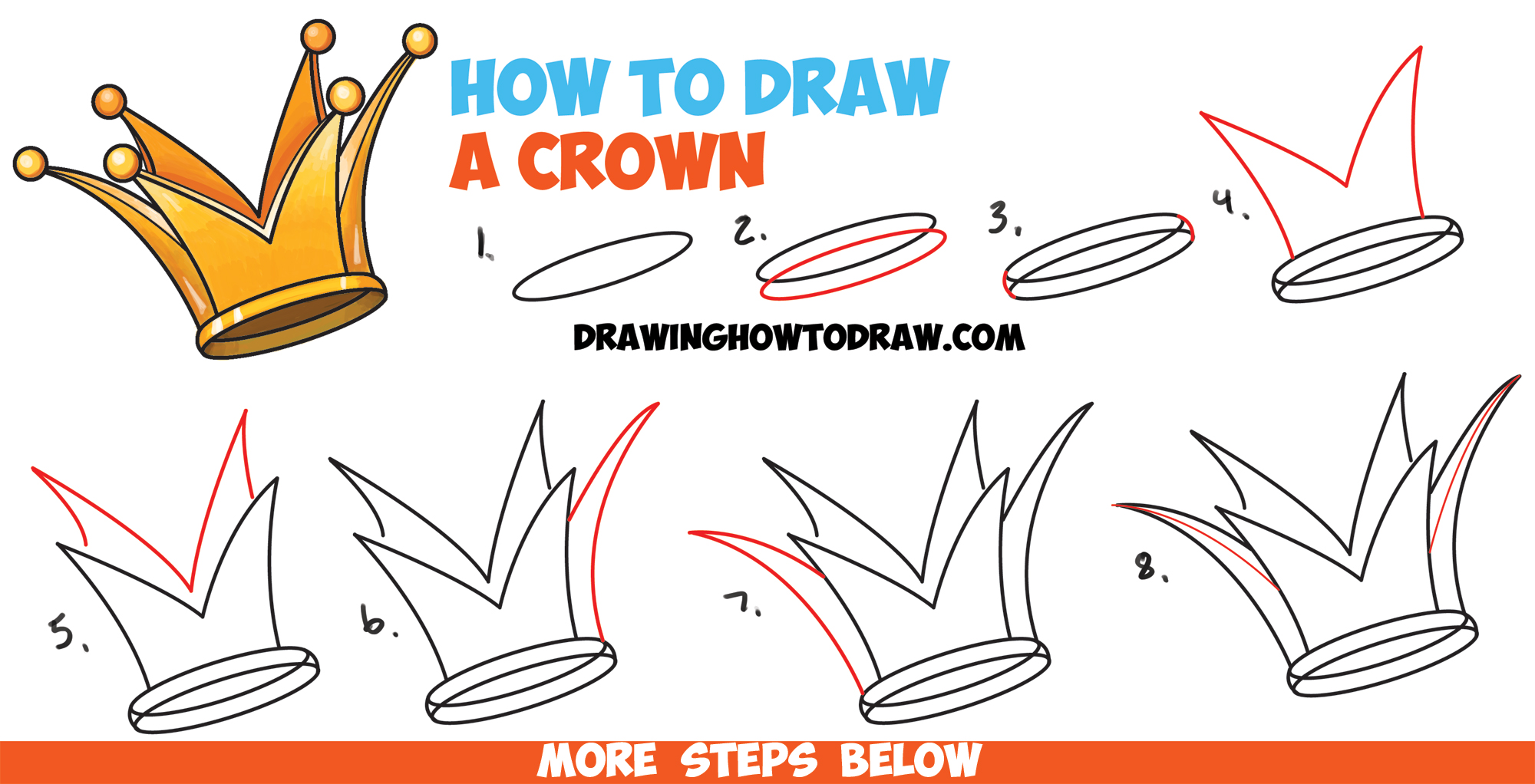 How To Draw A Crown Drawing Cartoon Crowns Easy Step By Step Drawing Tutorial For Kids How To Draw Step By Step Drawing Tutorials Learn how to draw simple king crown pictures using these outlines or print just for coloring. how to draw a crown drawing cartoon