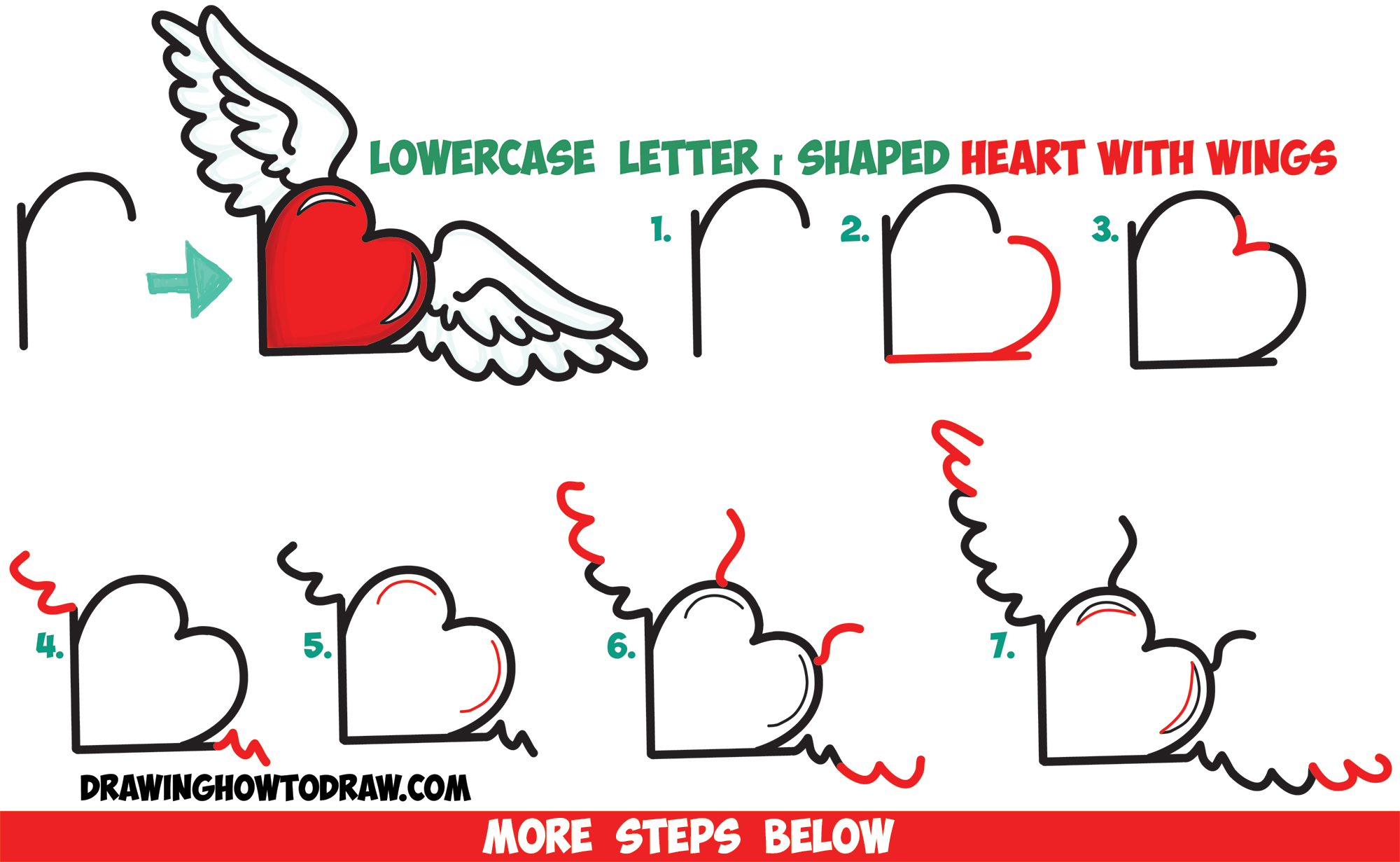How to Draw Heart with Wings from Lowercase Letter r Shapes - Easy Step by Step Drawing Tutorial