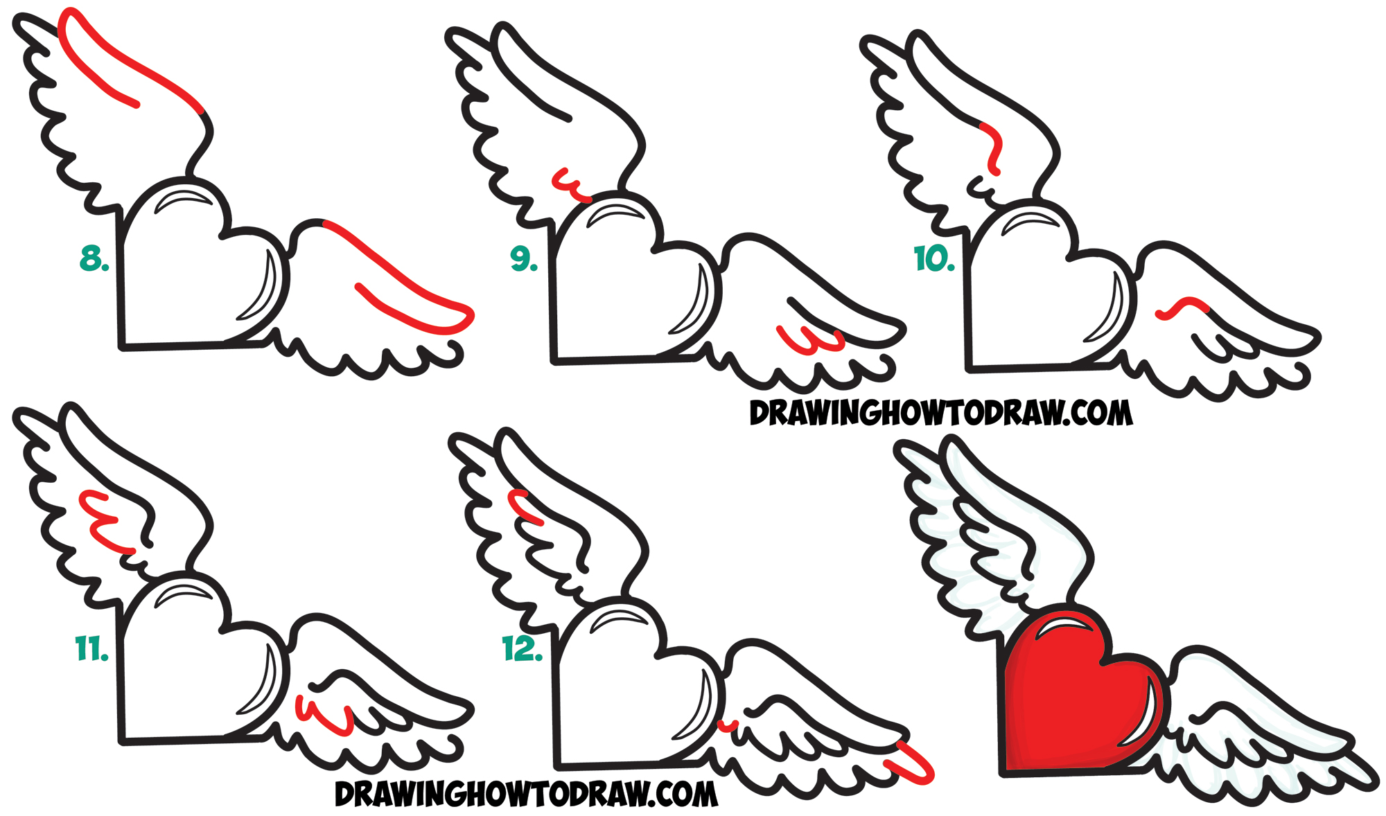 Learn How to Draw Hearts with Wings from Lowercase Letter r Shapes - Simple Steps Drawing Lesson for Kids
