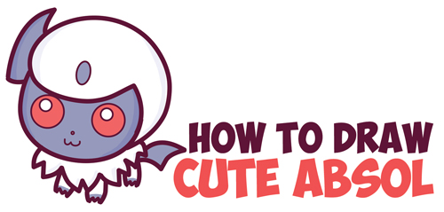 How To Draw Cute Absol From Pokemon Chibi Kawaii In Easy Step By Drawing Tutorial For Kids