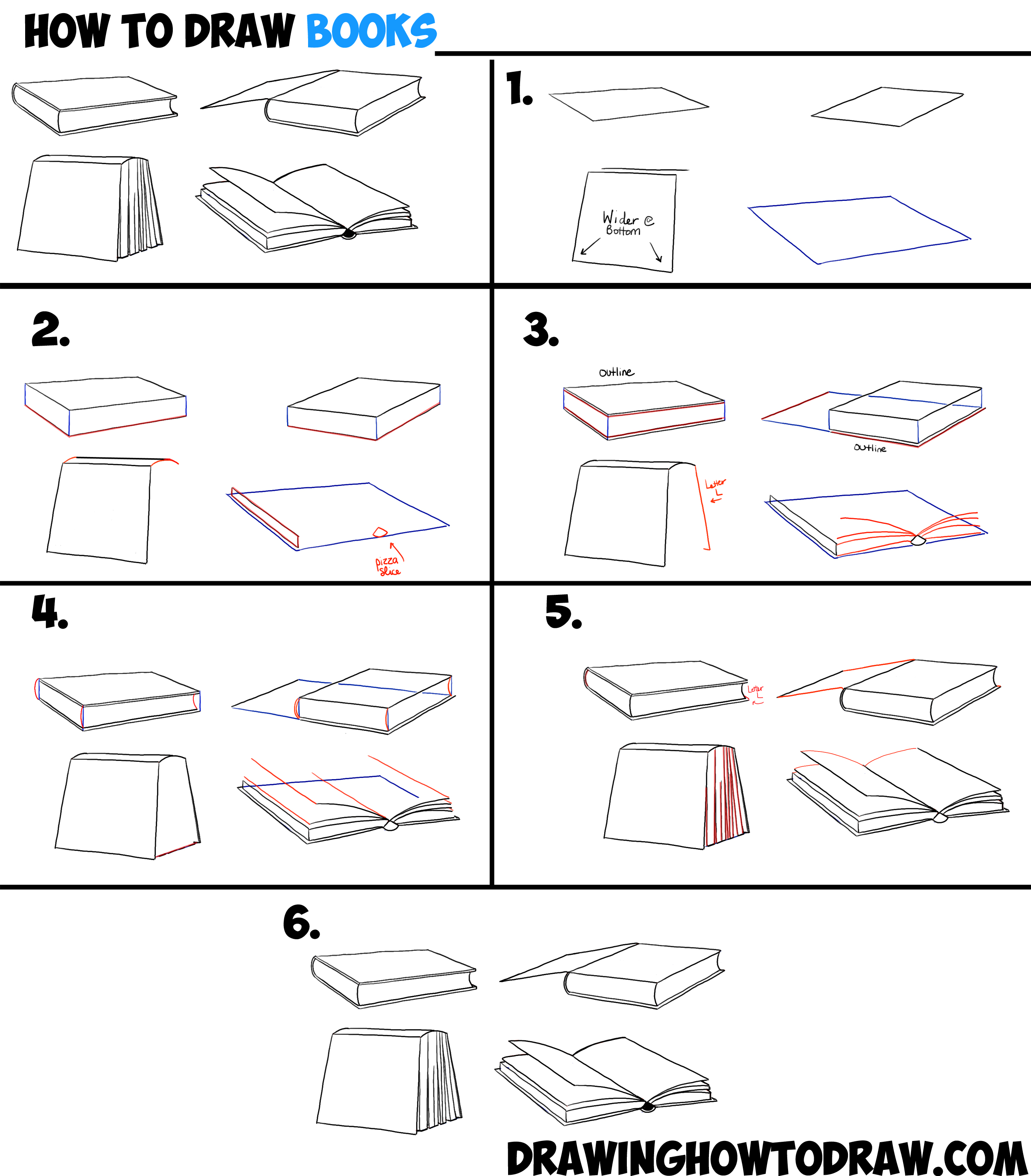 How to Draw Books in 4 Different Angles / Perspectives (Open / Closed etc)