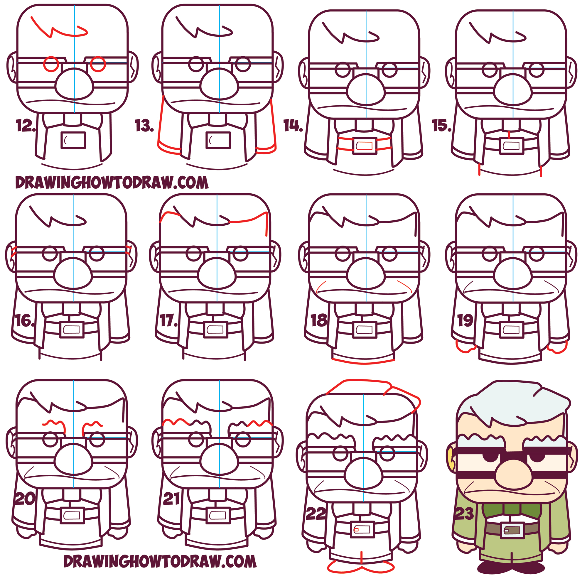 Learn How to Draw Carl Fredricksen the Old Man from Disney Pixar's Up (Cute / Chibi) Simple Drawing Lesson for Kids