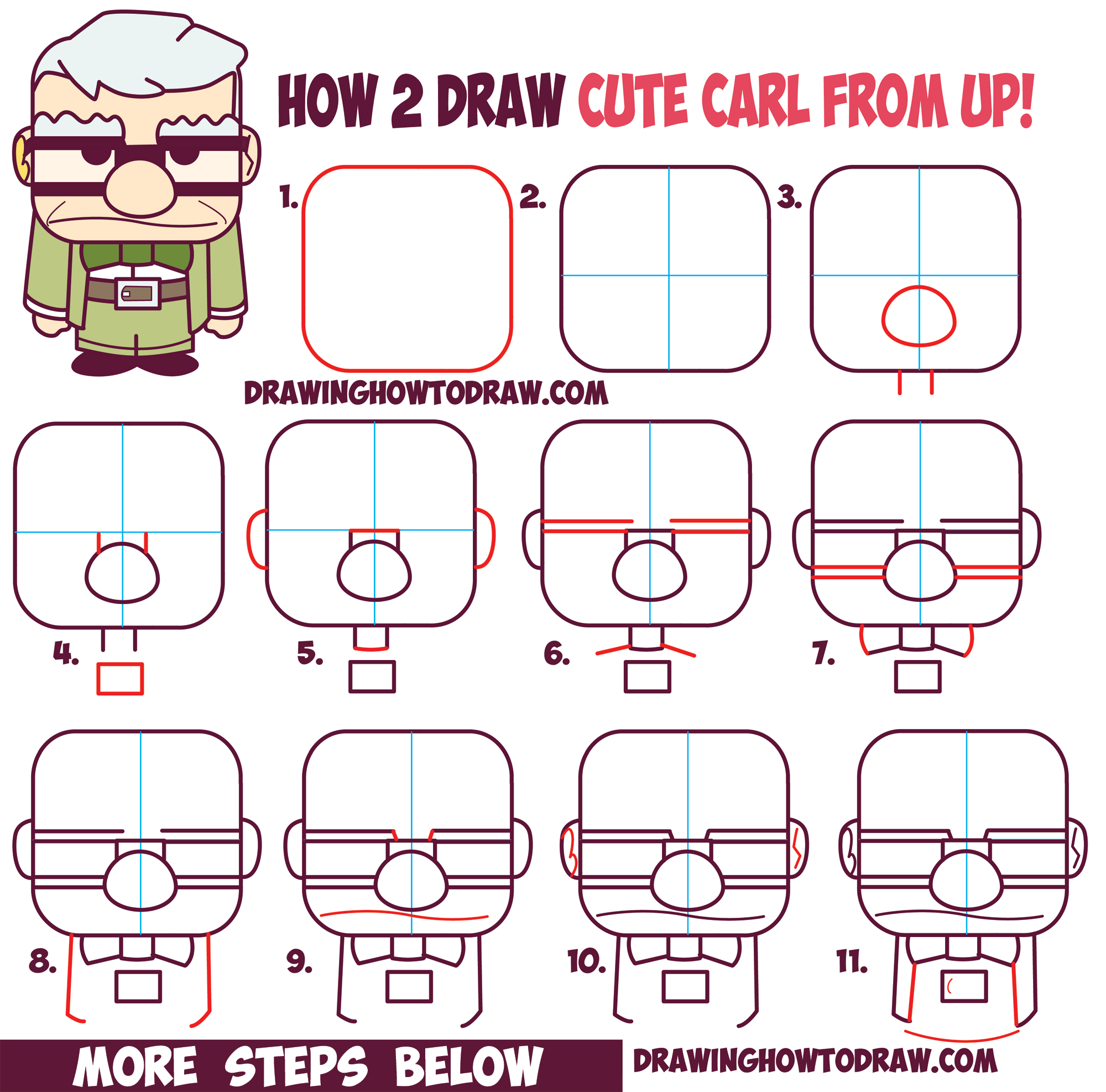 How to Draw Carl Fredricksen the Old Man from Pixar's Up (Cute / Chibi) Easy Drawing Tutorial for Kids