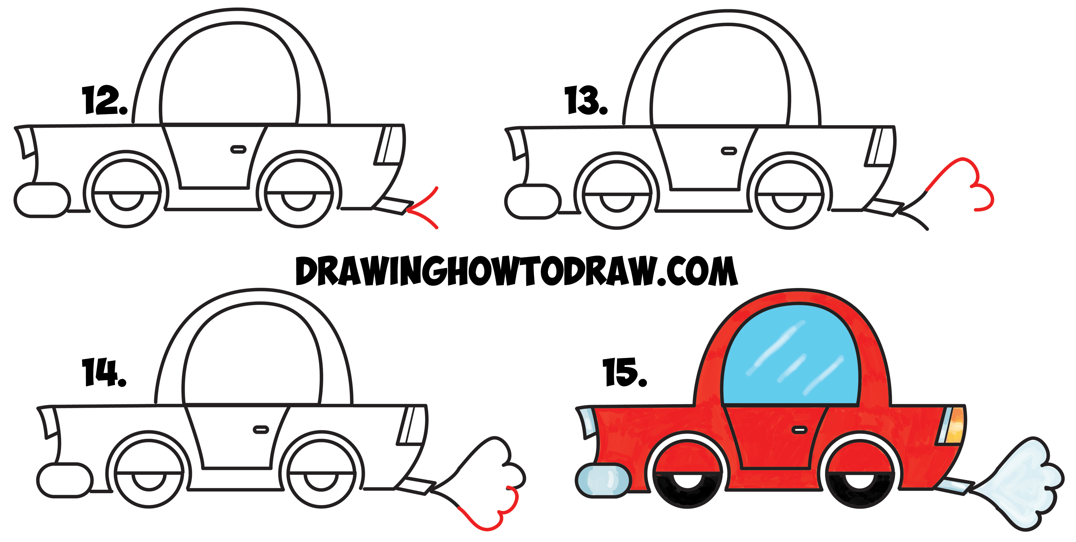 learn how to draw a cartoon car from lowercase letter e shapes simple step by - Easy Sports Drawings