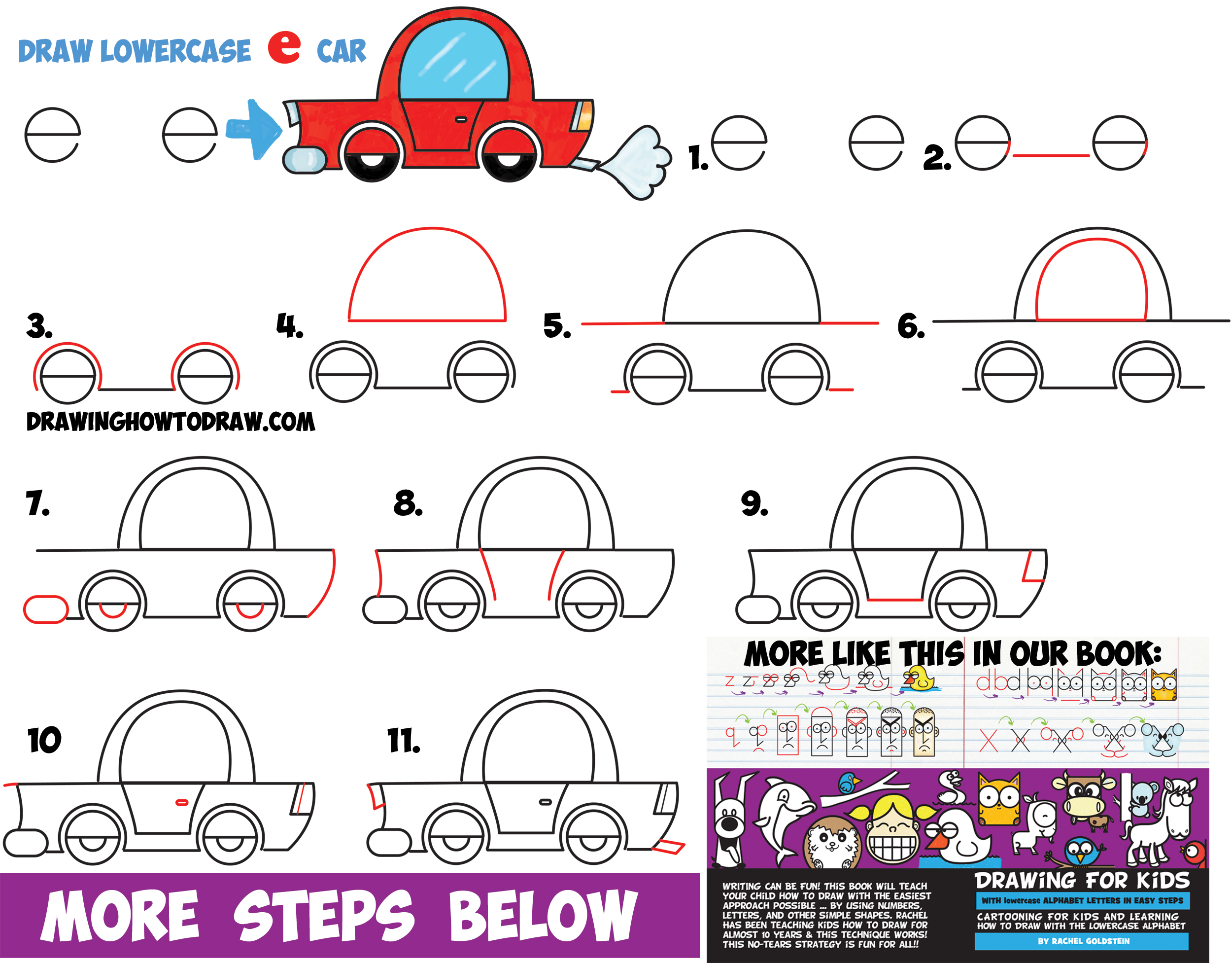 how to draw a cartoon car from lowercase letter e shapes - easy