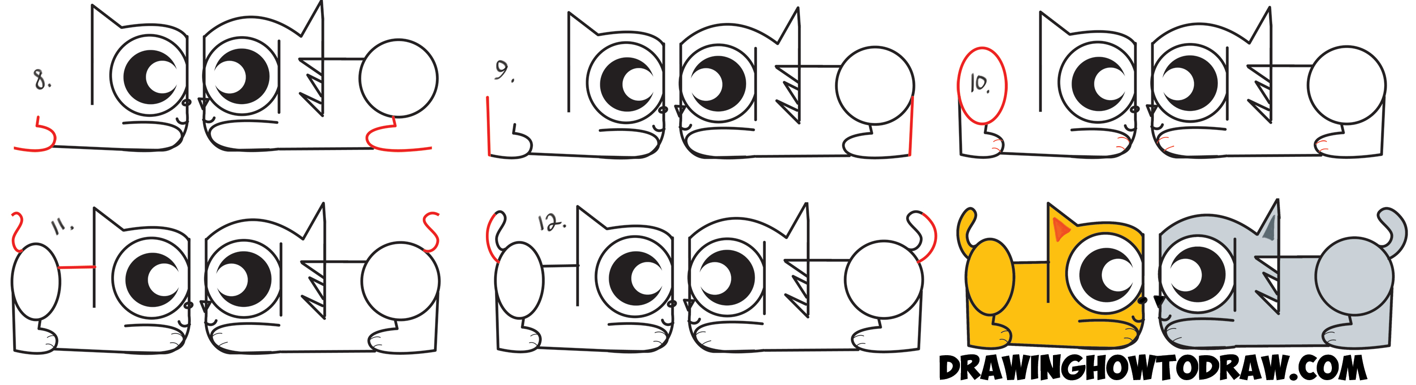 Learn How to Draw Cartoon Cats from the Spanish Word Gato - Simple Steps Drawing Lesson for Kids