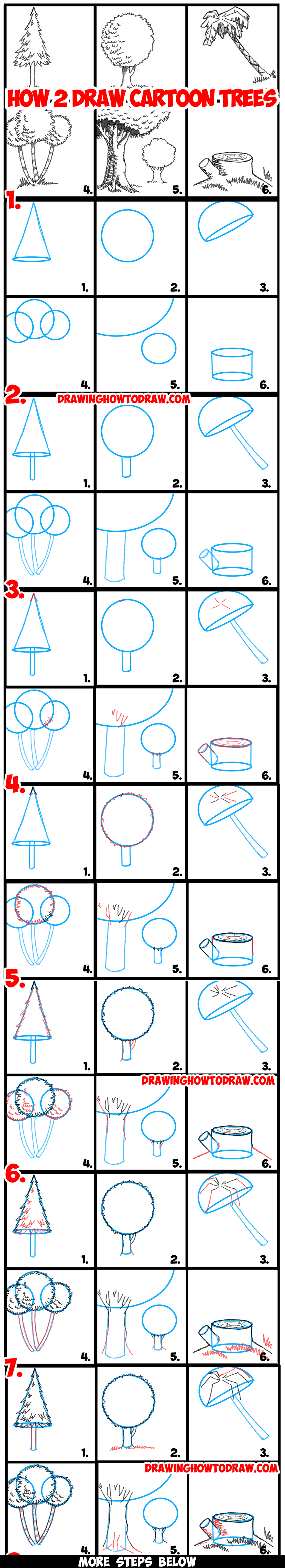 Guide to drawing cartoon trees with basic geometric shapes for Cartoon drawing tutorials for beginners