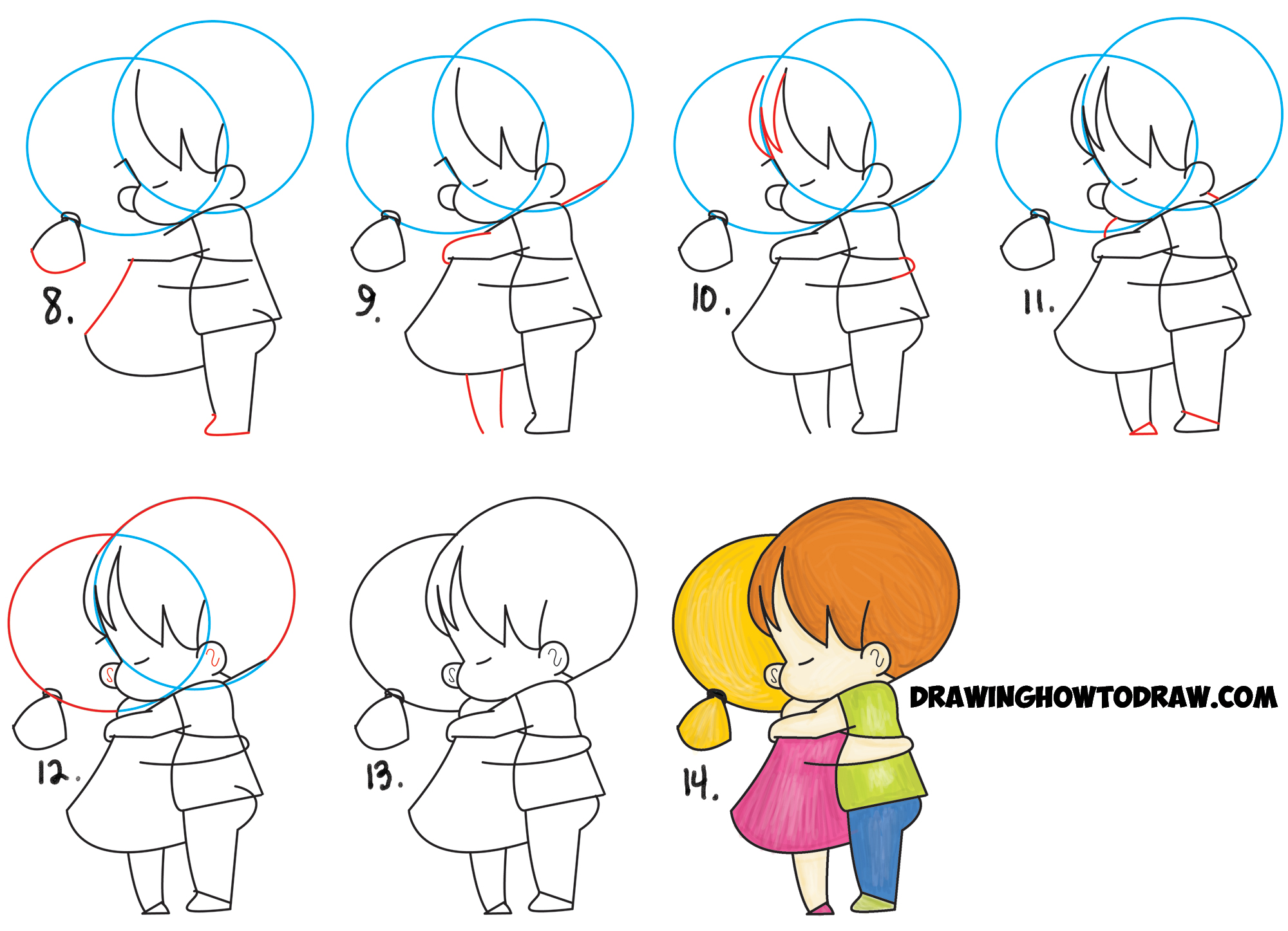 How to draw chibi girl and boy hugging cute kawaii for Steps to draw a girl