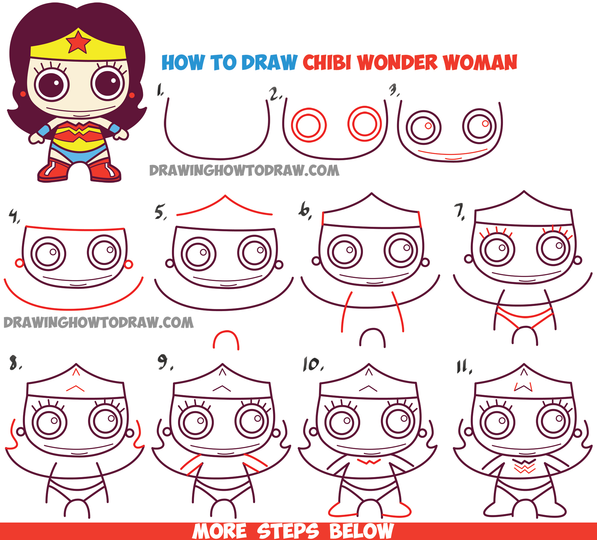 How to Draw Cute Chibi Wonder Woman from DC Comics in Easy Step by Step Drawing Tutorial for Kids