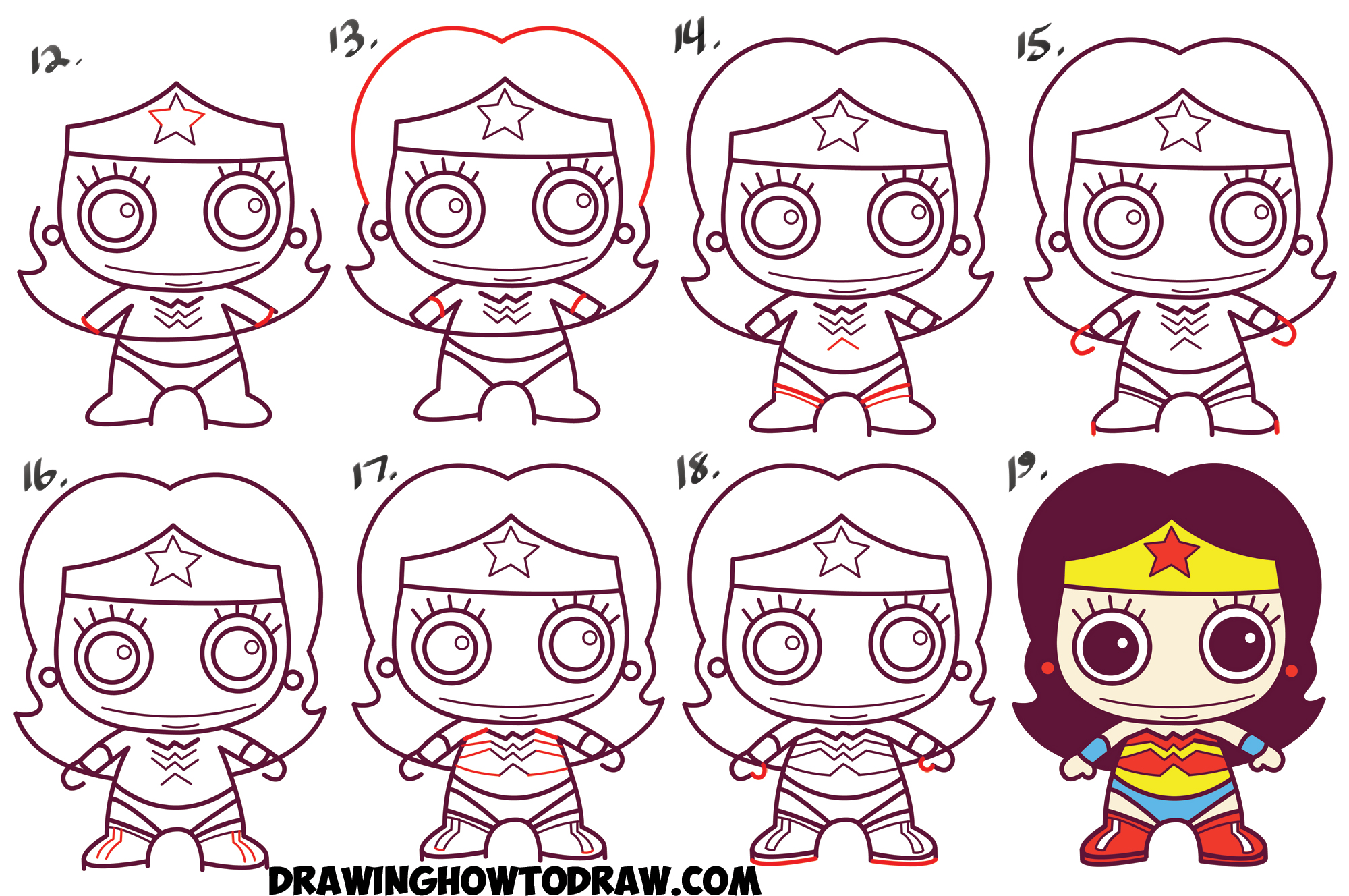 How To Draw Cute Chibi Wonder Woman From Dc Comics In Easy