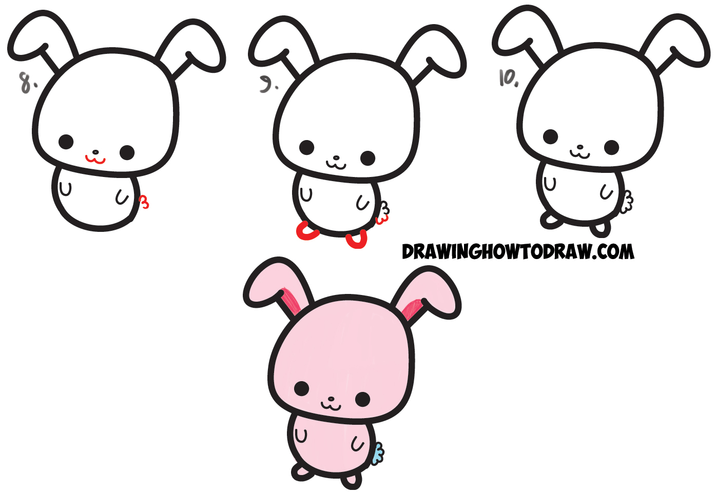 How To Draw A Cute Easy Cartoon Kawaii Bunny Rabbit From A Semicolon