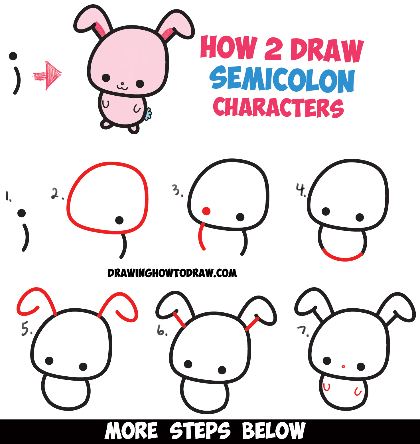 Excellent How To Draw Cute Cartoon Characters From Semicolons Easy Step By Hairstyles For Women Draintrainus
