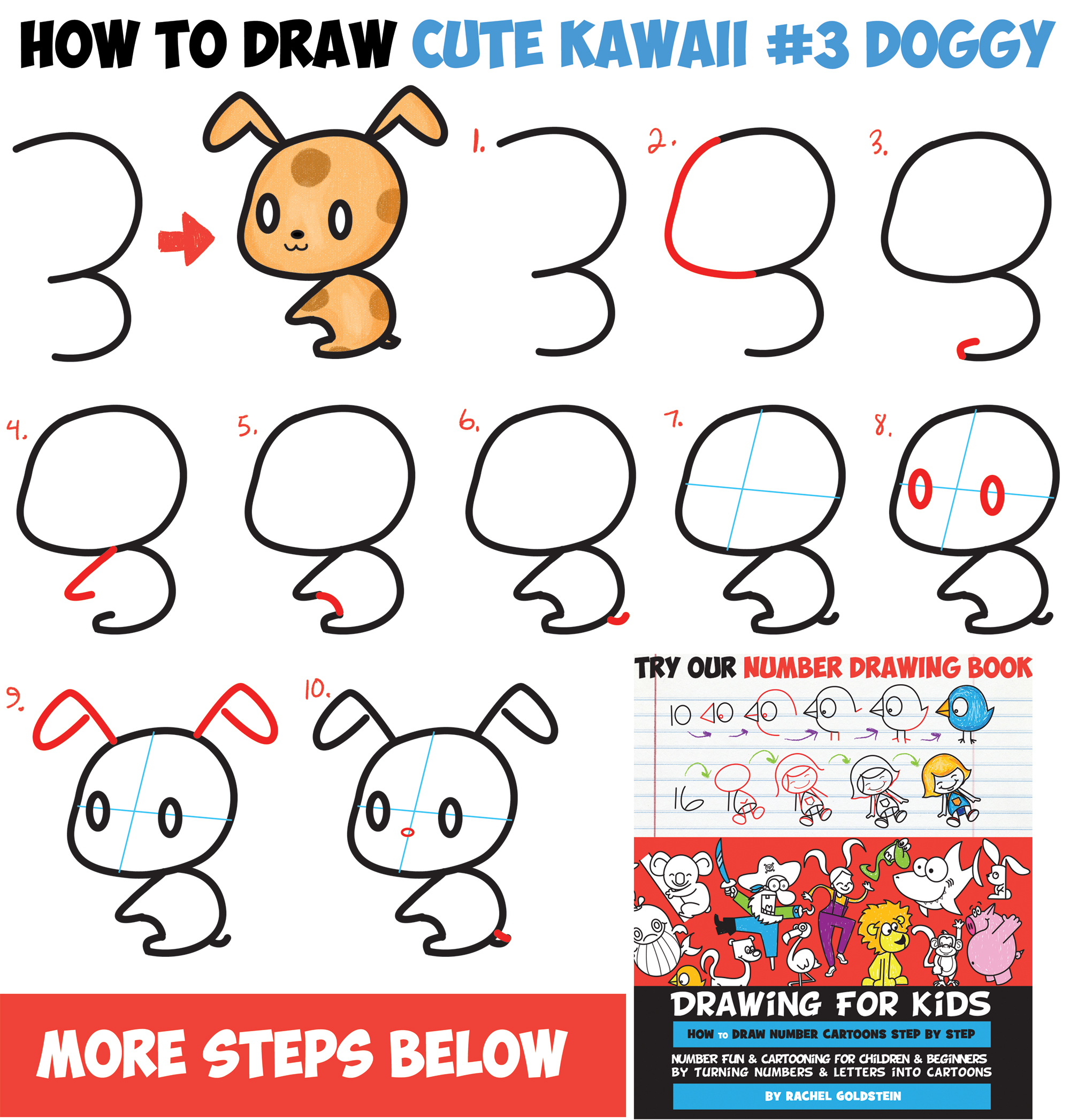 Learn How to Draw a Cute Chibi / Kawaii Cartoon #3 Shape Puppy Doggy - Easy Step by Step Drawing Tutorial for Kids