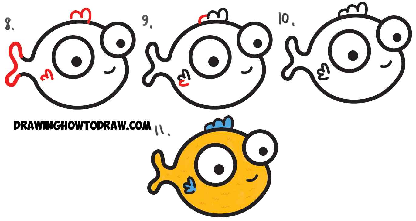 How To Draw A Cute Baby Cartoon Fish  Easy Steps Art Lesson For Kids
