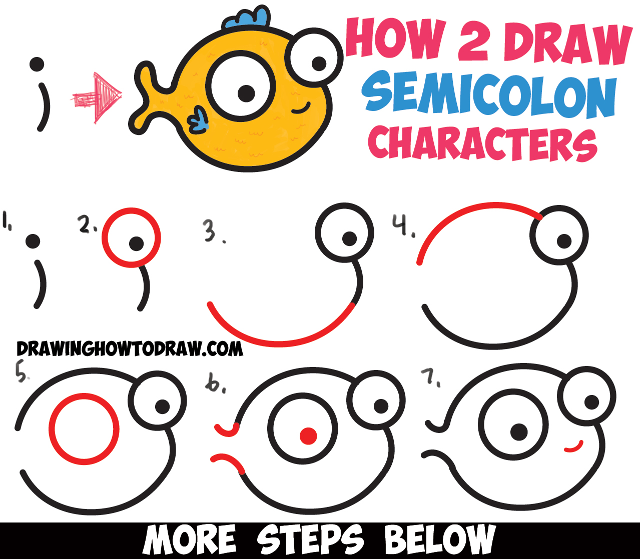 How to Draw Cute Cartoon Characters from Semicolons - Easy ...