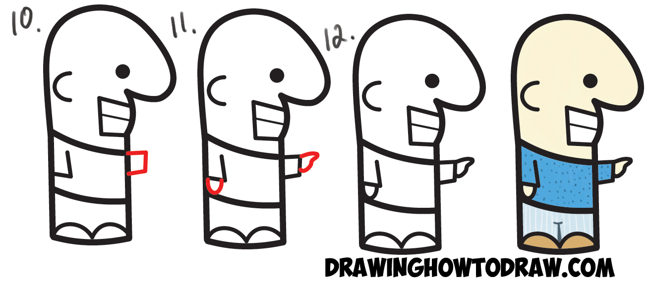 "How to Draw a Cute Easy Cartoon Man from a Semicolon "" ; "" - Simple Step by Step Drawing Tutorial for Kids"