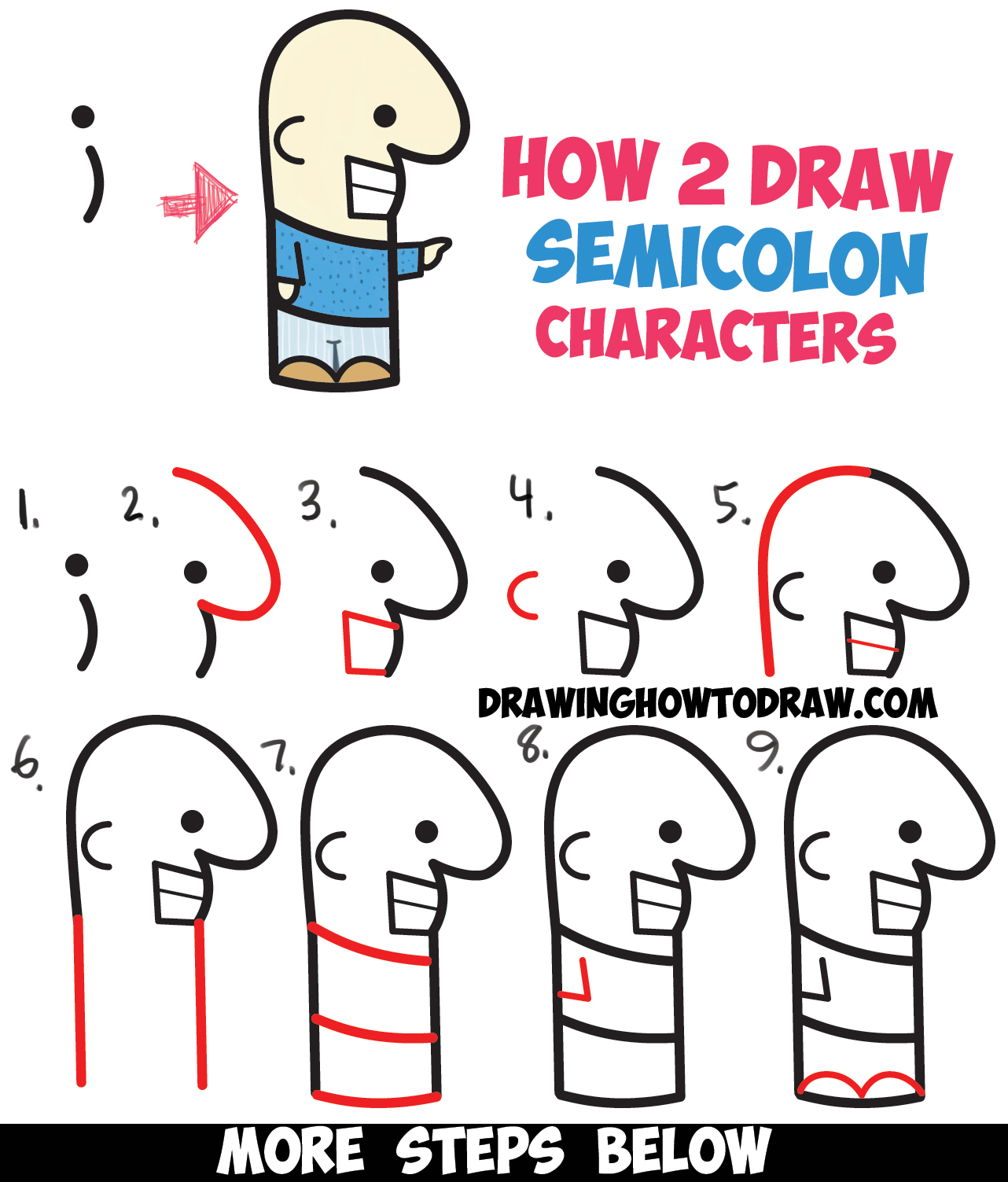 How To Draw Cute Cartoon Characters From Semicolons Easy Step By