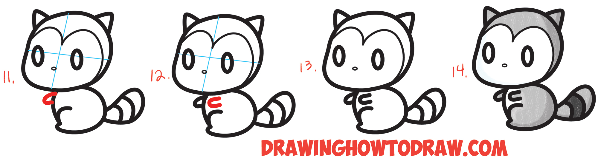 how to draw a cute chibi kawaii cartoon 3 shape racoon