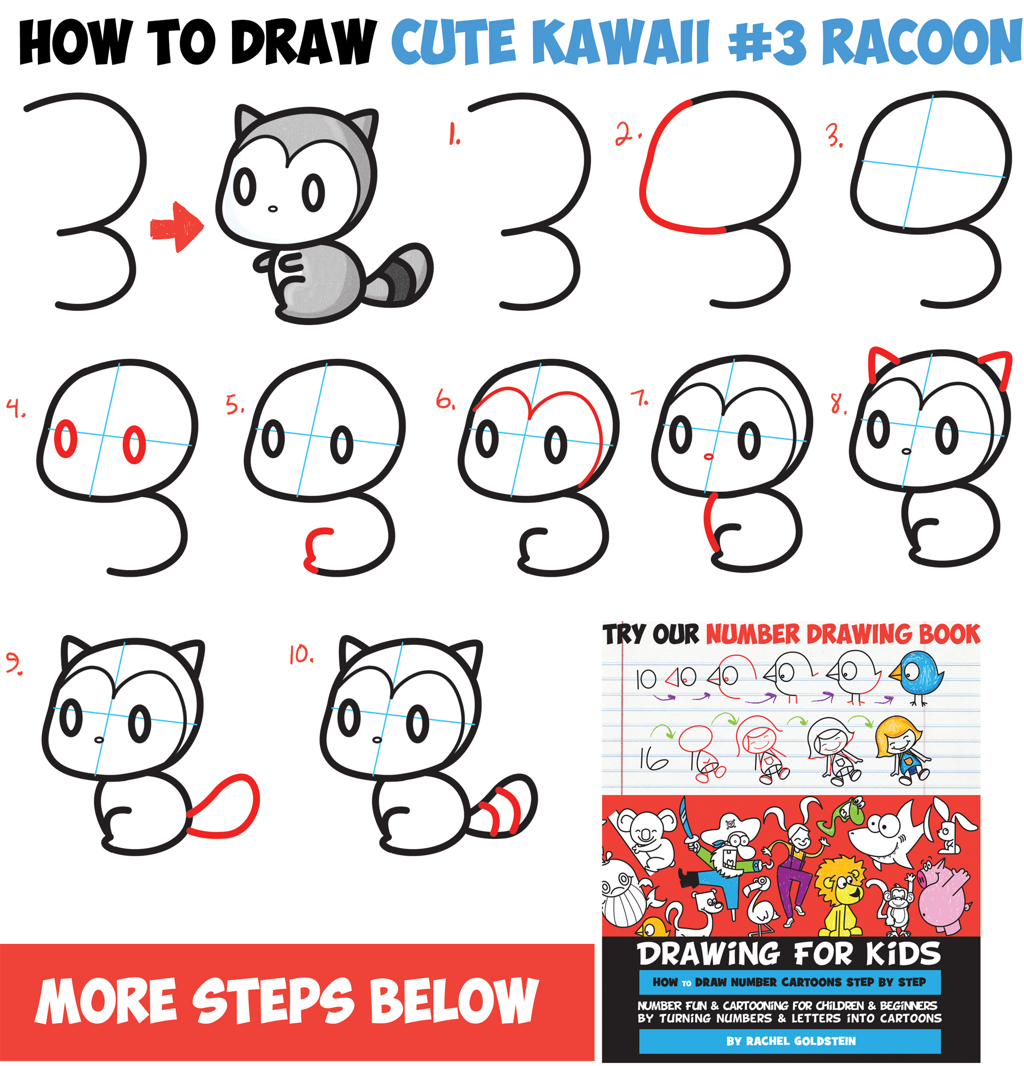 How to draw cute chibi kawaii characters with number 3 for How to make cartoon drawings step by step
