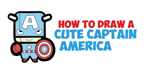 Learn How to Draw Cute Chibi Kawaii Captain American from Marvel Comics - Simple Step by Step Drawing Lesson