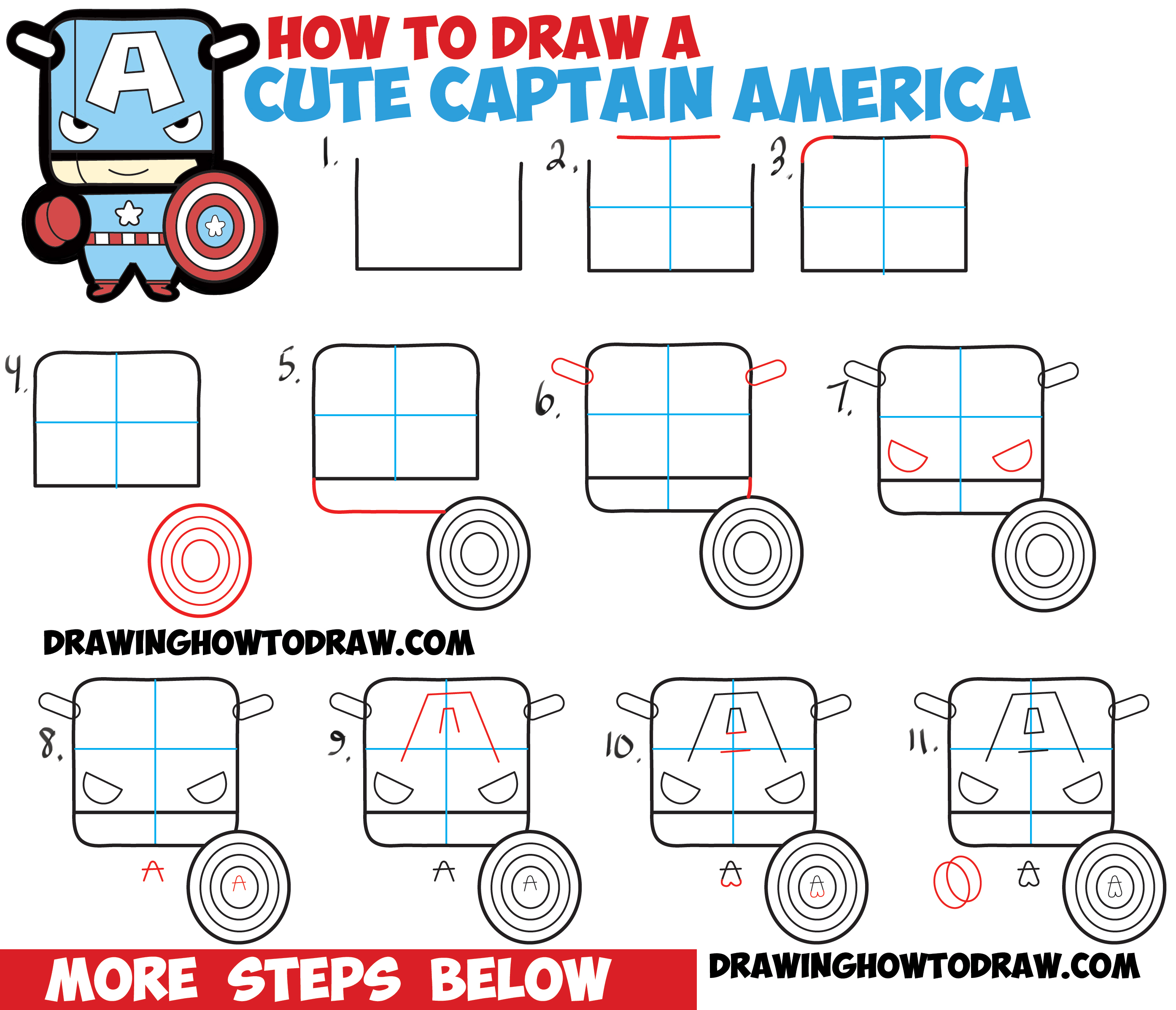 How to Draw Cute Captain American in Chibi Kawaii Style from Marvel Comics - Easy Drawing Tutorial for Kids