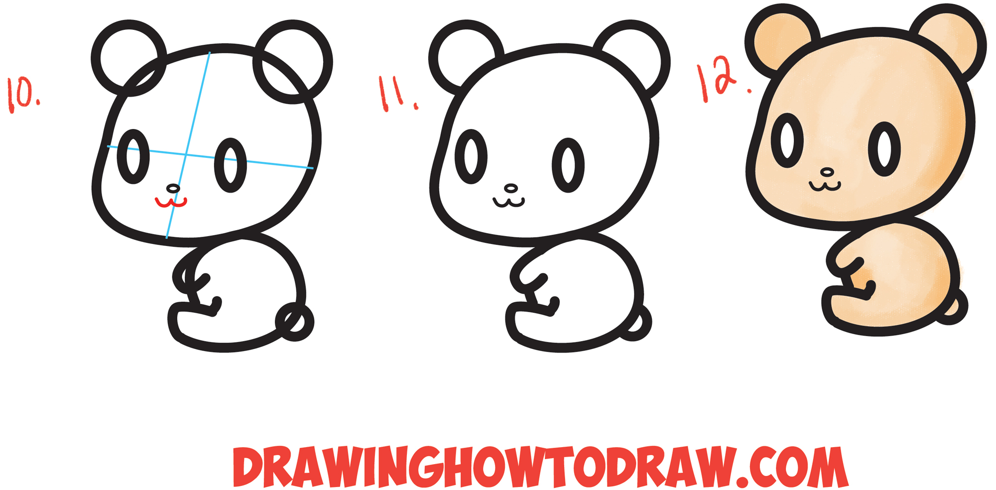 How to Draw a Cute Chibi / Kawaii Cartoon #3 Shape Bear