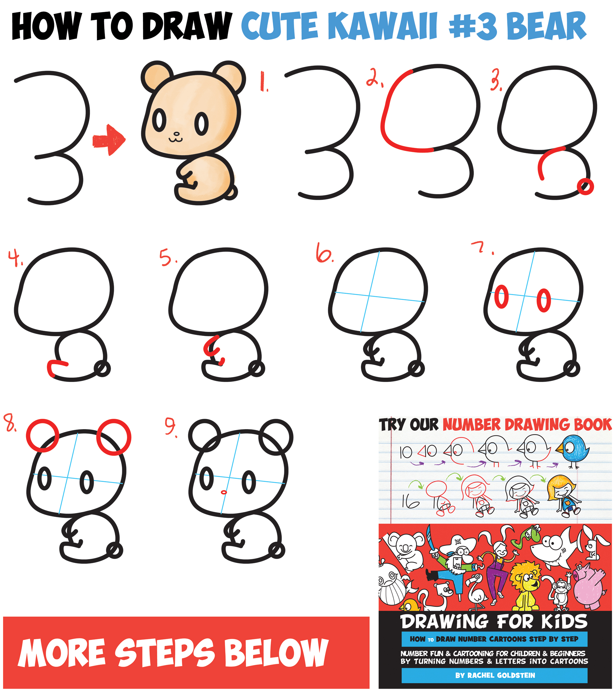 Learn How to Draw a Cute Chibi / Kawaii Cartoon #3 Shape Bear - Easy Step by Step Drawing Tutorial for Kids