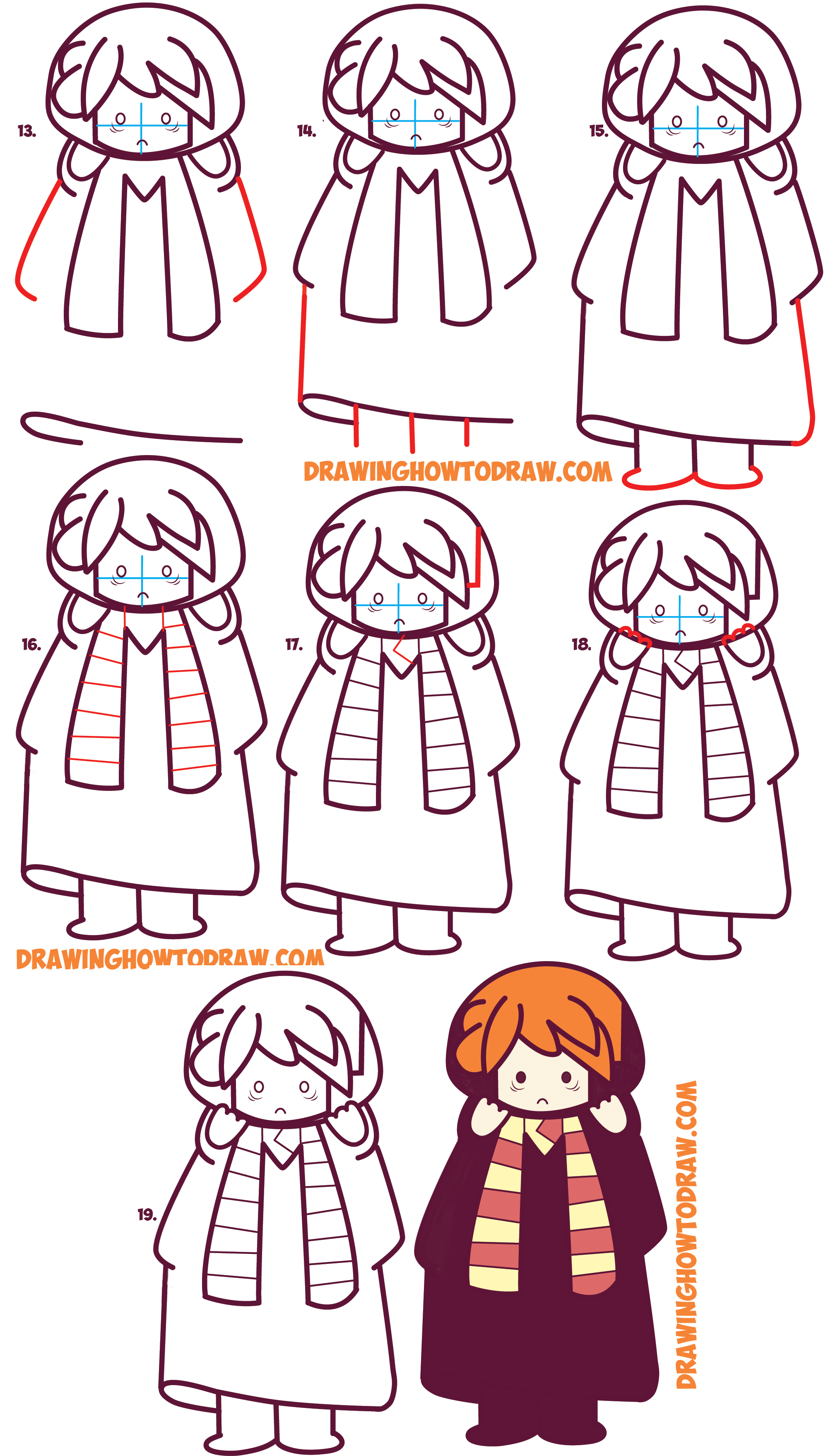 Learn How to Draw Cute Ron Weasley from Harry Potter (Chibi / Kawaii) Simple Steps Drawing Lesson for Kids