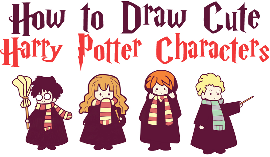 How to Draw Cute Harry Potter Characters in Cartoon Chibi / Kawaii Style