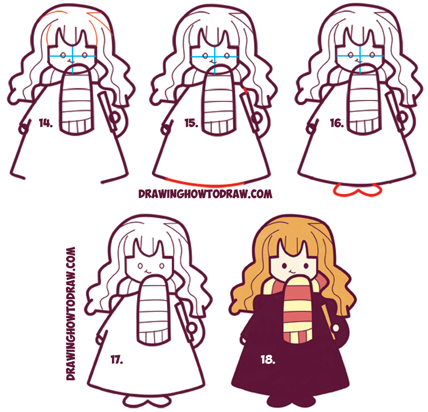 Learn How to Draw Chibi / Kawaii / Cute Hermione from Harry Potter : Simple Step by Step Art Drawing Lesson for Kids