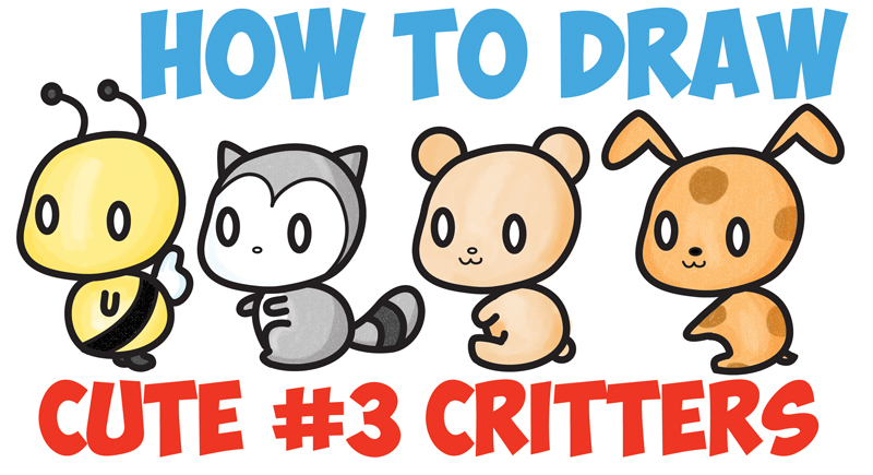 How to Draw Cute Chibi / Kawaii Characters with Number 3 Shapes - Easy Step by Step Drawing Tutorial for Kids and Beginners