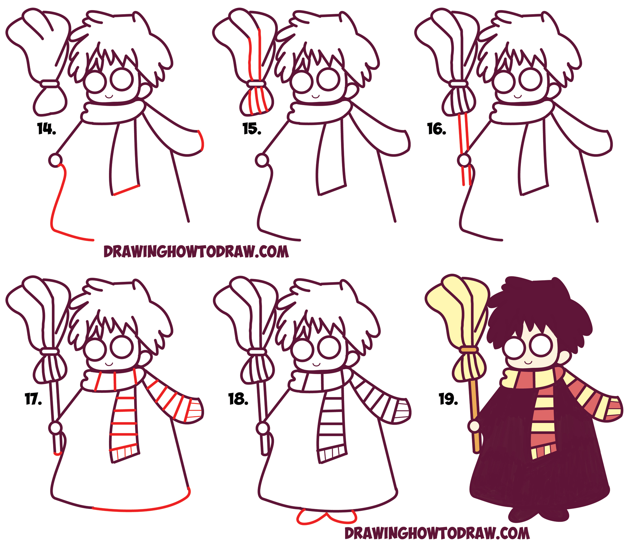 how to draw cute harry potter chibi kawaii easy step by step