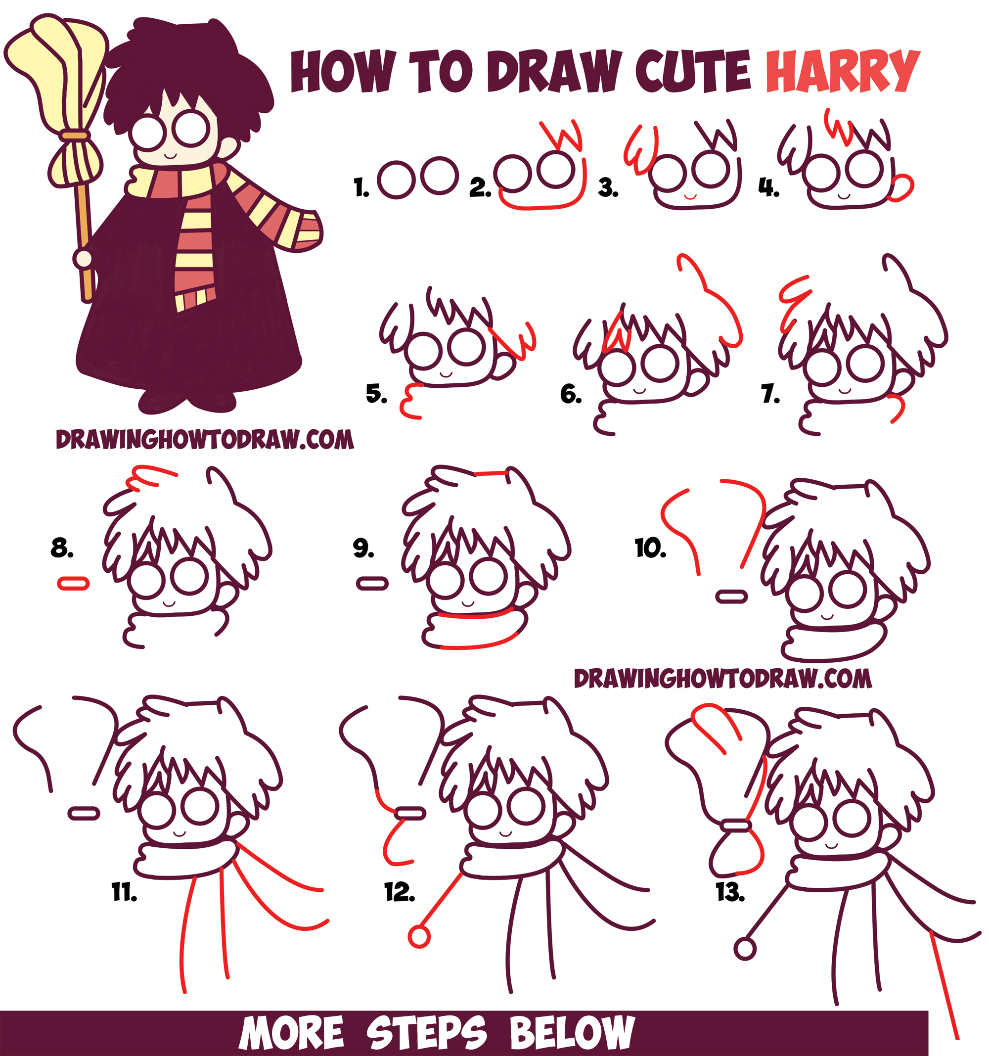 How To Draw Cute Harry Potter (Chibi / Kawaii) Easy Step