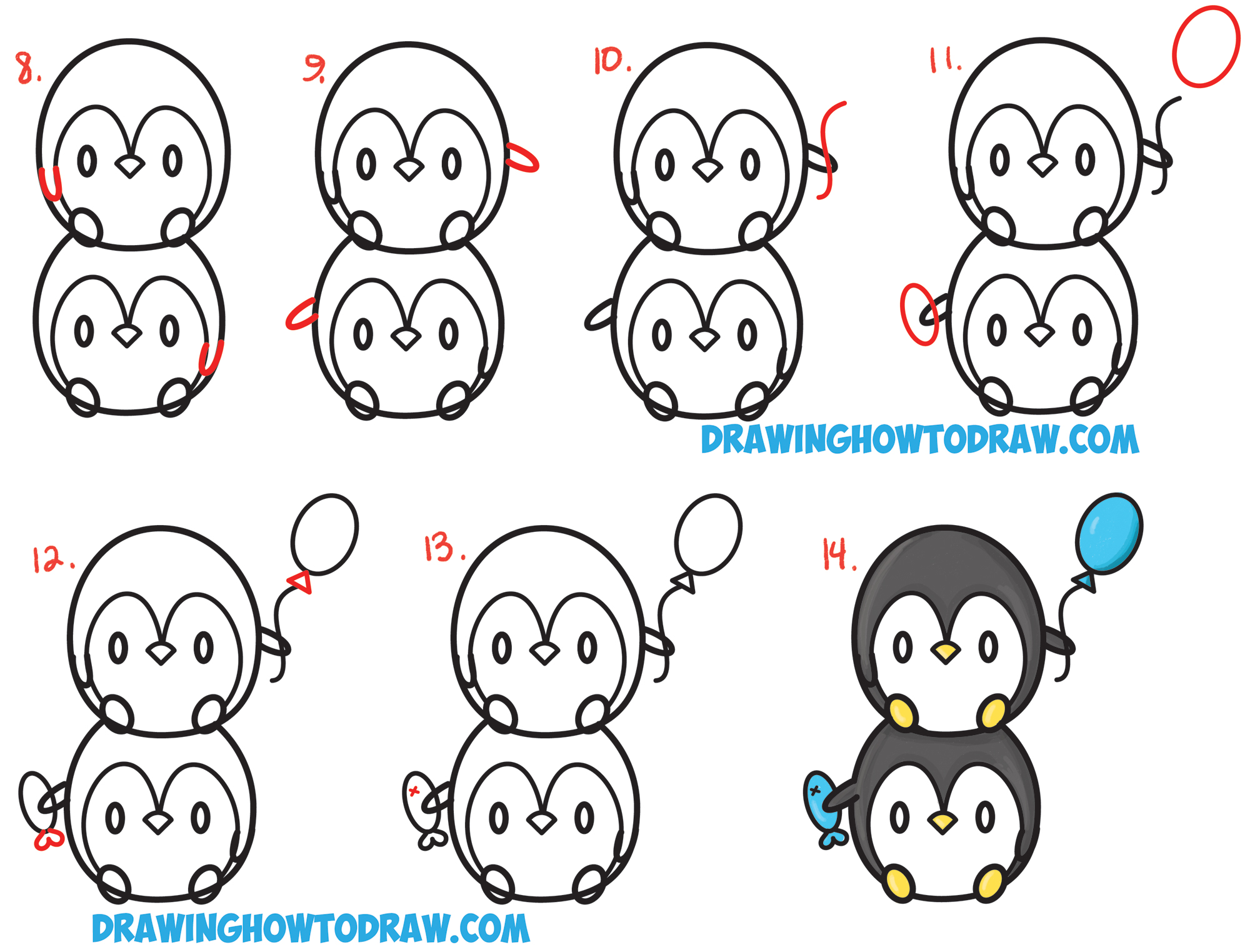 Learn How to Draw Cute Kawaii / Chibi / Baby Penguins Stacked from Numbers with Simple Steps Drawing Lesson for Kids