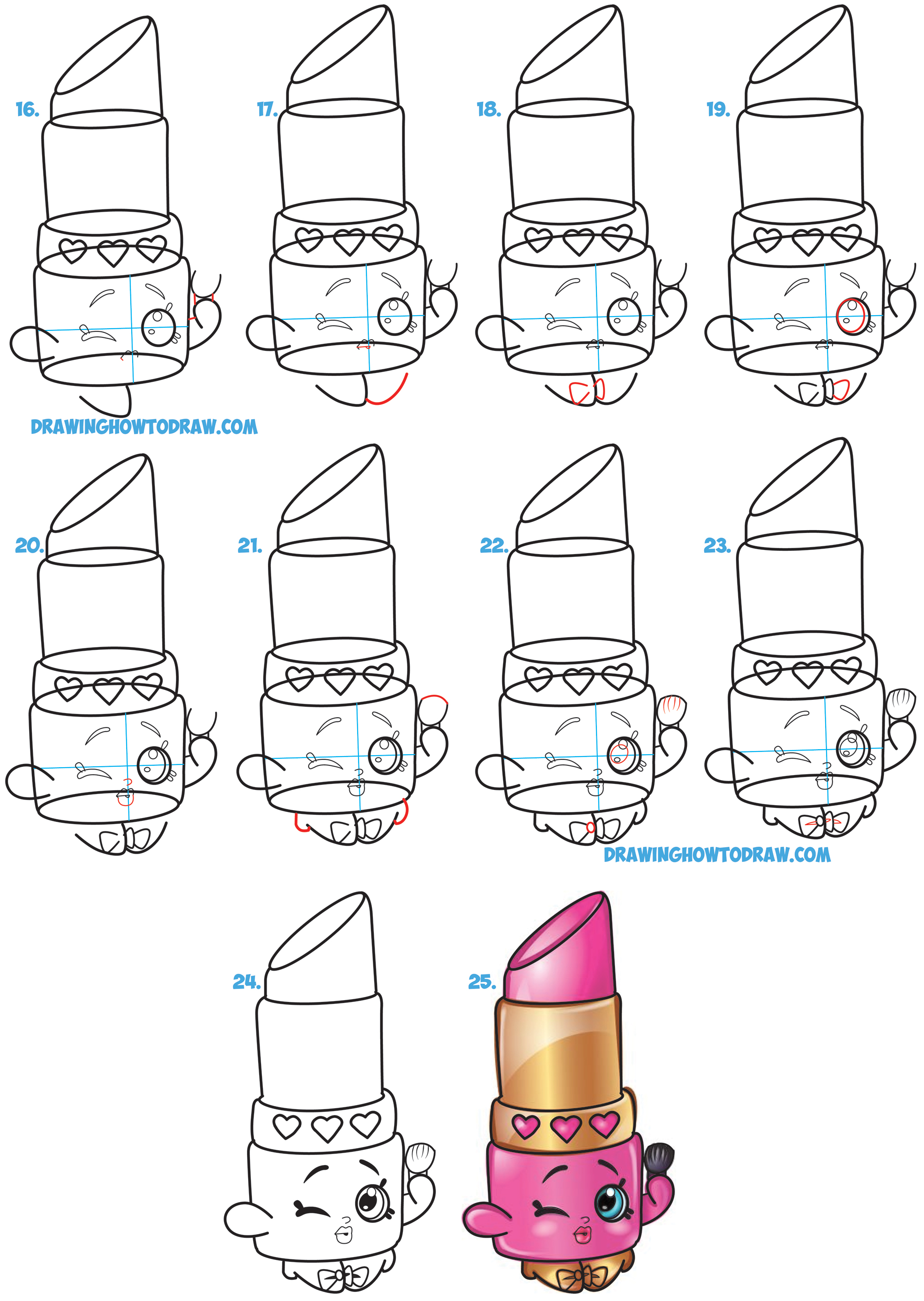 How to draw lippy lips cute lipstick from shopkins for Learn drawing online step by step