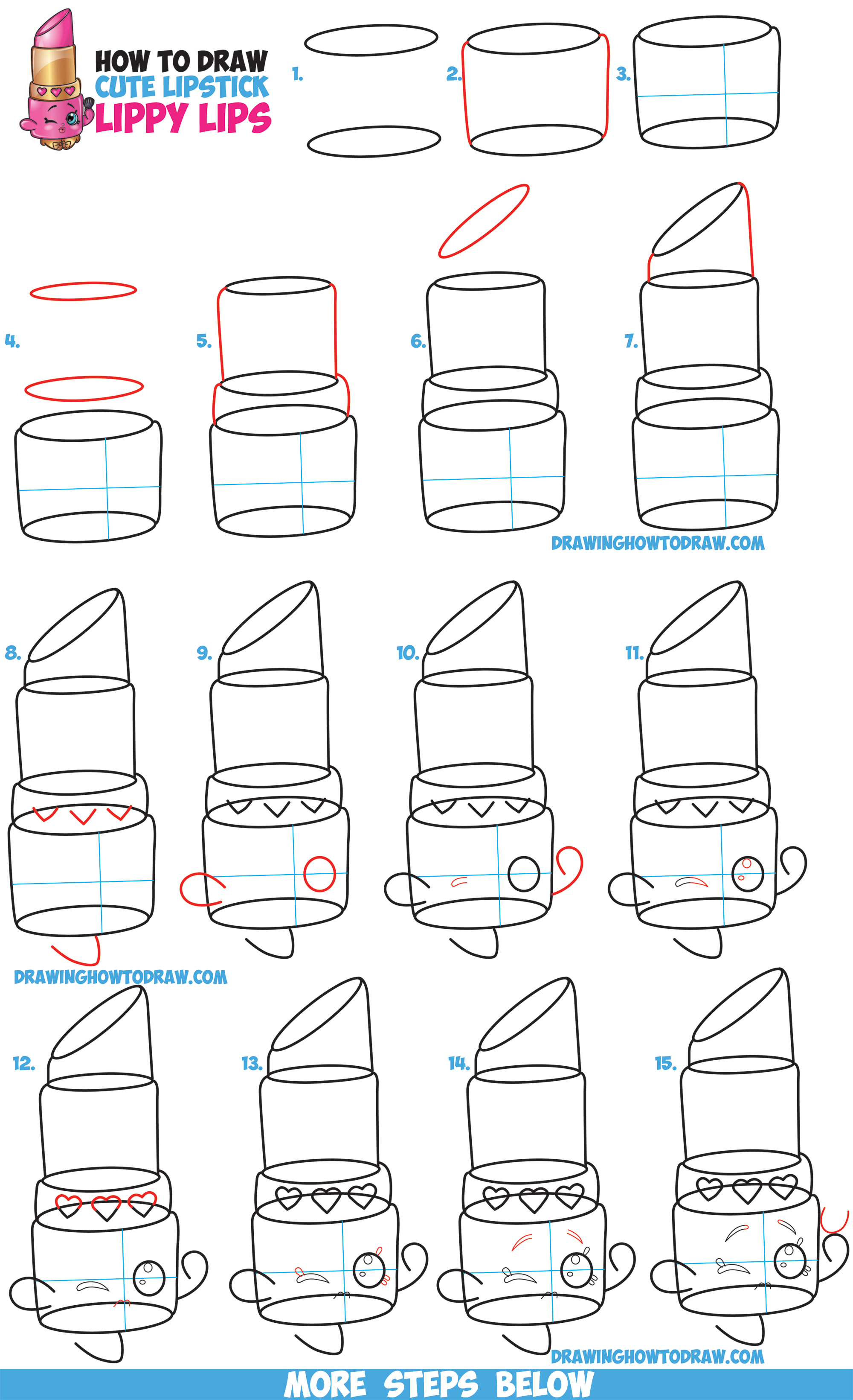 Charming How To Draw Lippy Lips / Cute Lipstick From Shopkins   Easy Step By Step  Drawing