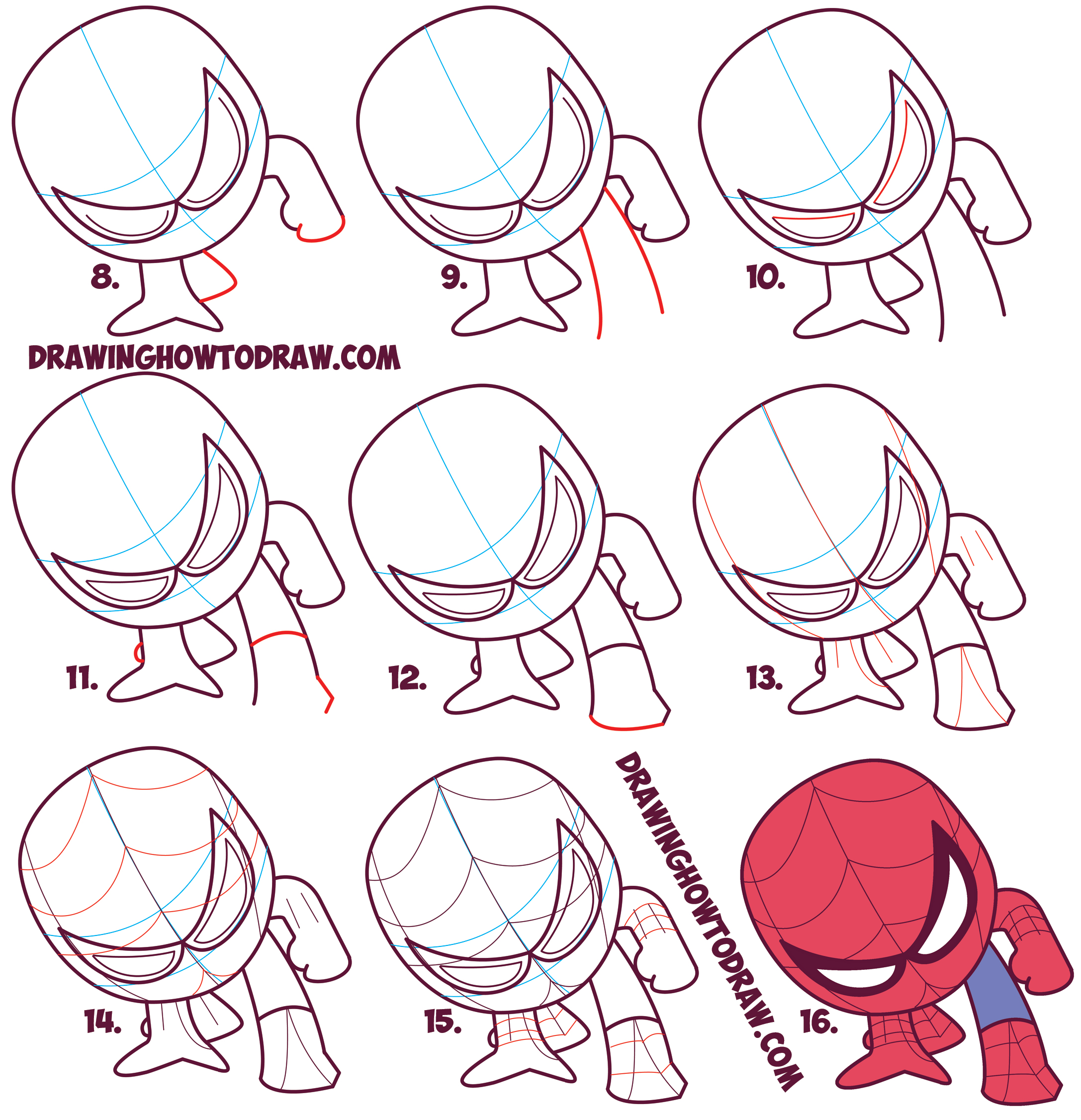 How to draw cute spiderman chibi kawaii easy step by for How to make cartoon drawings step by step