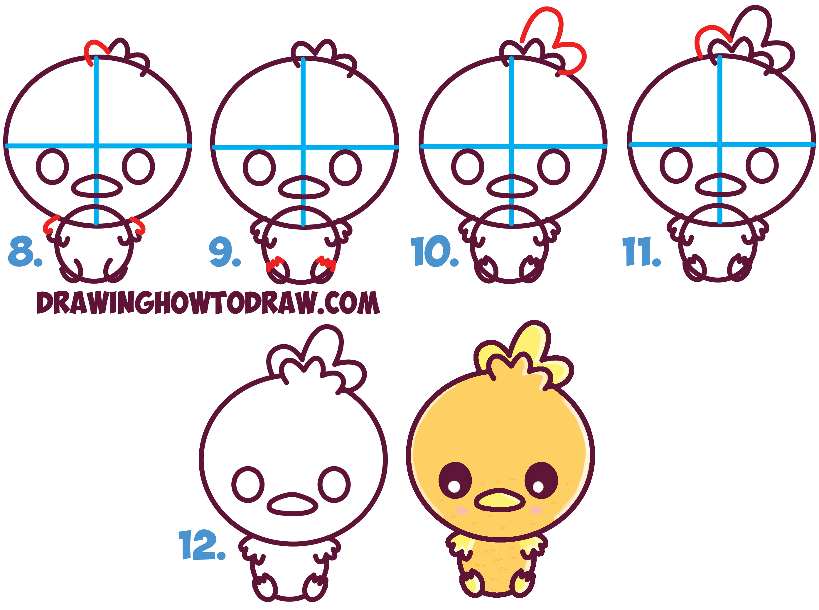 Learn How to Draw Cute Torchic from Pokemon (Chibi / Kawaii) Simple Steps Drawing Lesson for Kids
