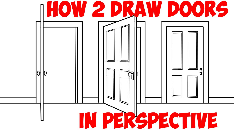 half open door drawing. Wonderful Open How To Draw Doors Opened  Closed In Two Point Perspective  Easy Step By  Drawing Tutorial  Tutorials Intended Half Open Door L