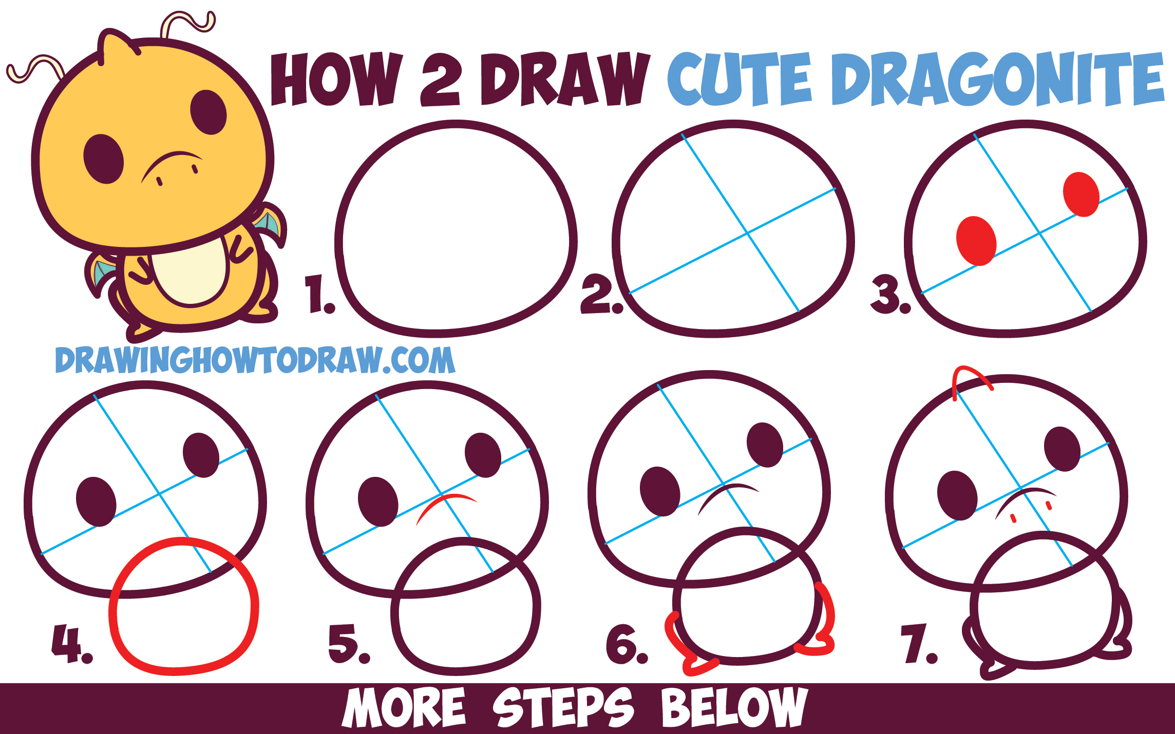 How to Draw Cute Dragonite (Chibi / Kawaii) from Pokemon Easy Step by Step Drawing Lesson