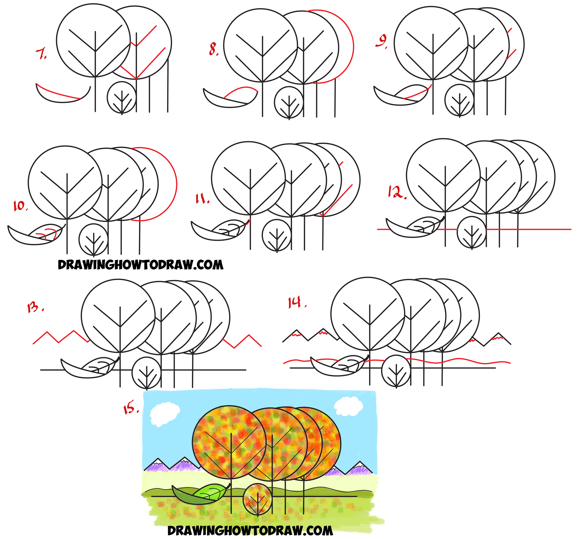 "Learn How to Draw Fall / Autumn Scene from the Word ""Fall"" - Simple Step by Step Drawing Tutorial for Kids"