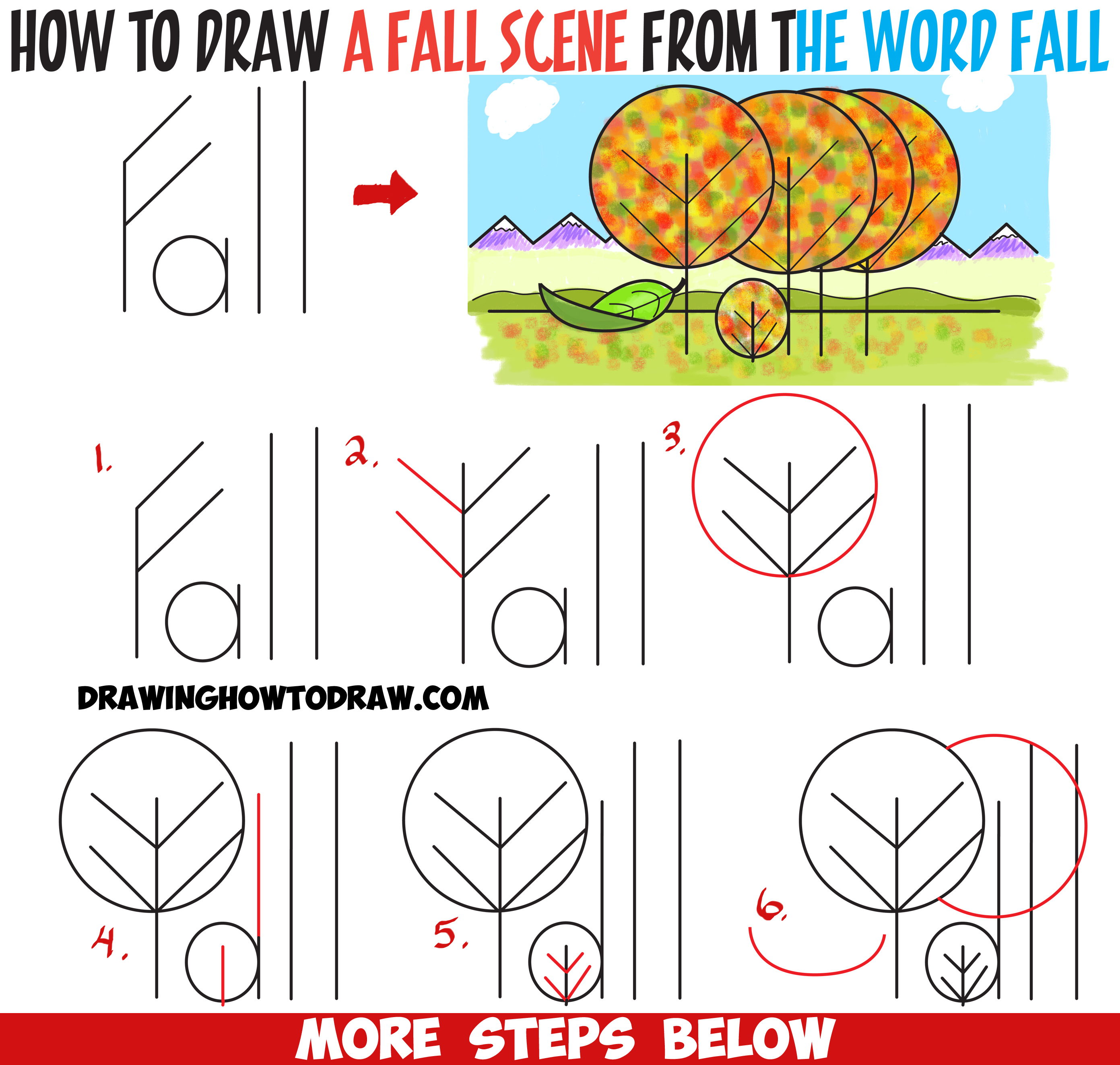 "How to Draw Fall / Autumn Scene from the Word ""Fall"" - Easy Cartoon Drawing Tutorial and Art Lesson for Kids"