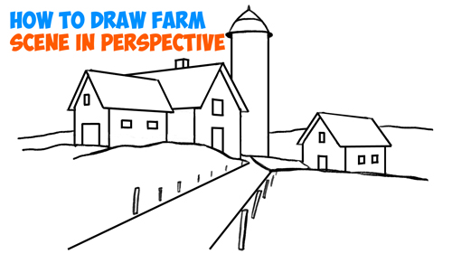 How To Draw Farm Scene Fall Spring In Three Point Perspective Easy Step By Tutorial For Beginners