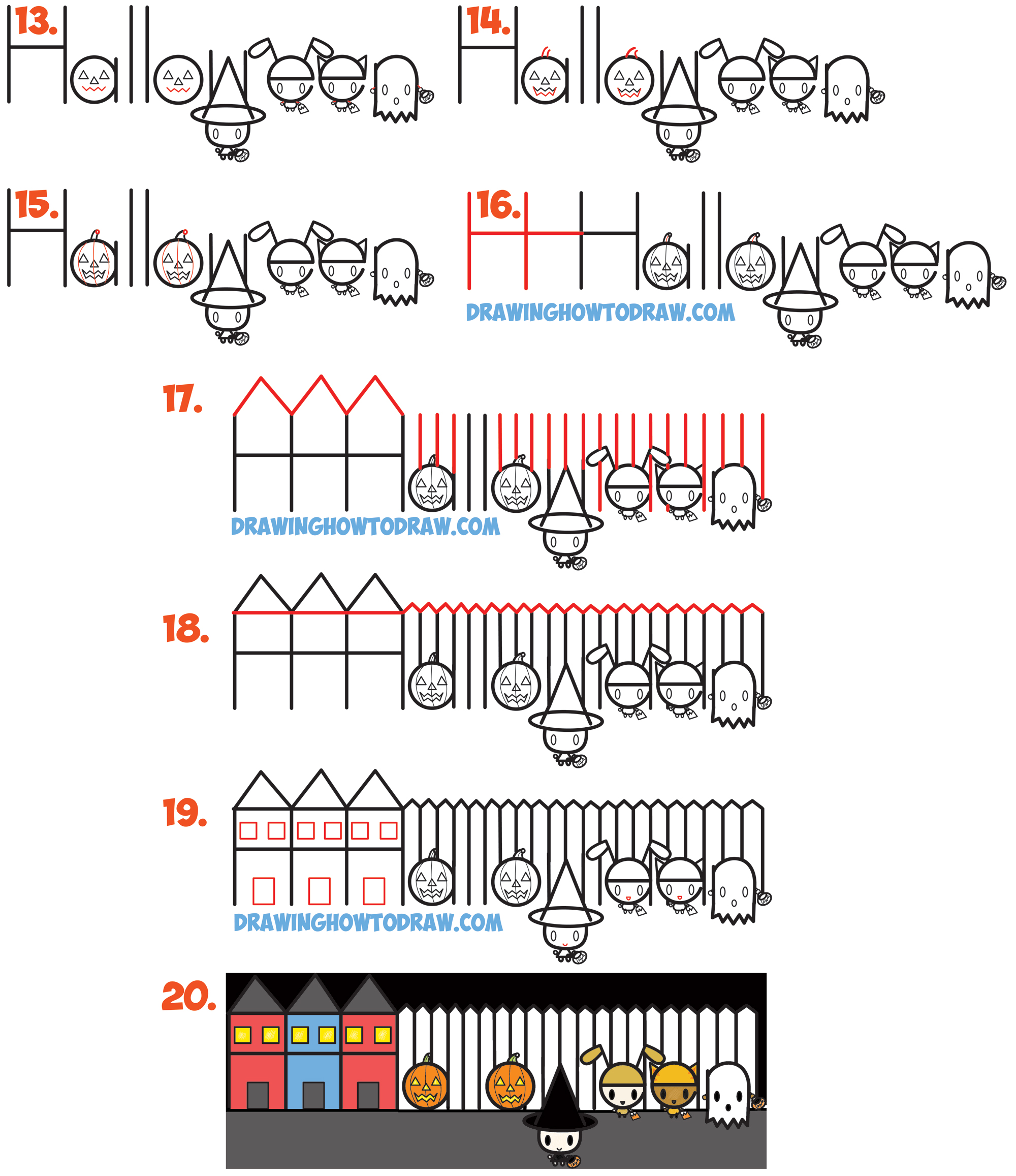 Learn How to Cartoon Draw Halloween Trick or Treating Scene from the Word (Word Cartoons Simple Step by Step Drawing Lessonfor Kids)