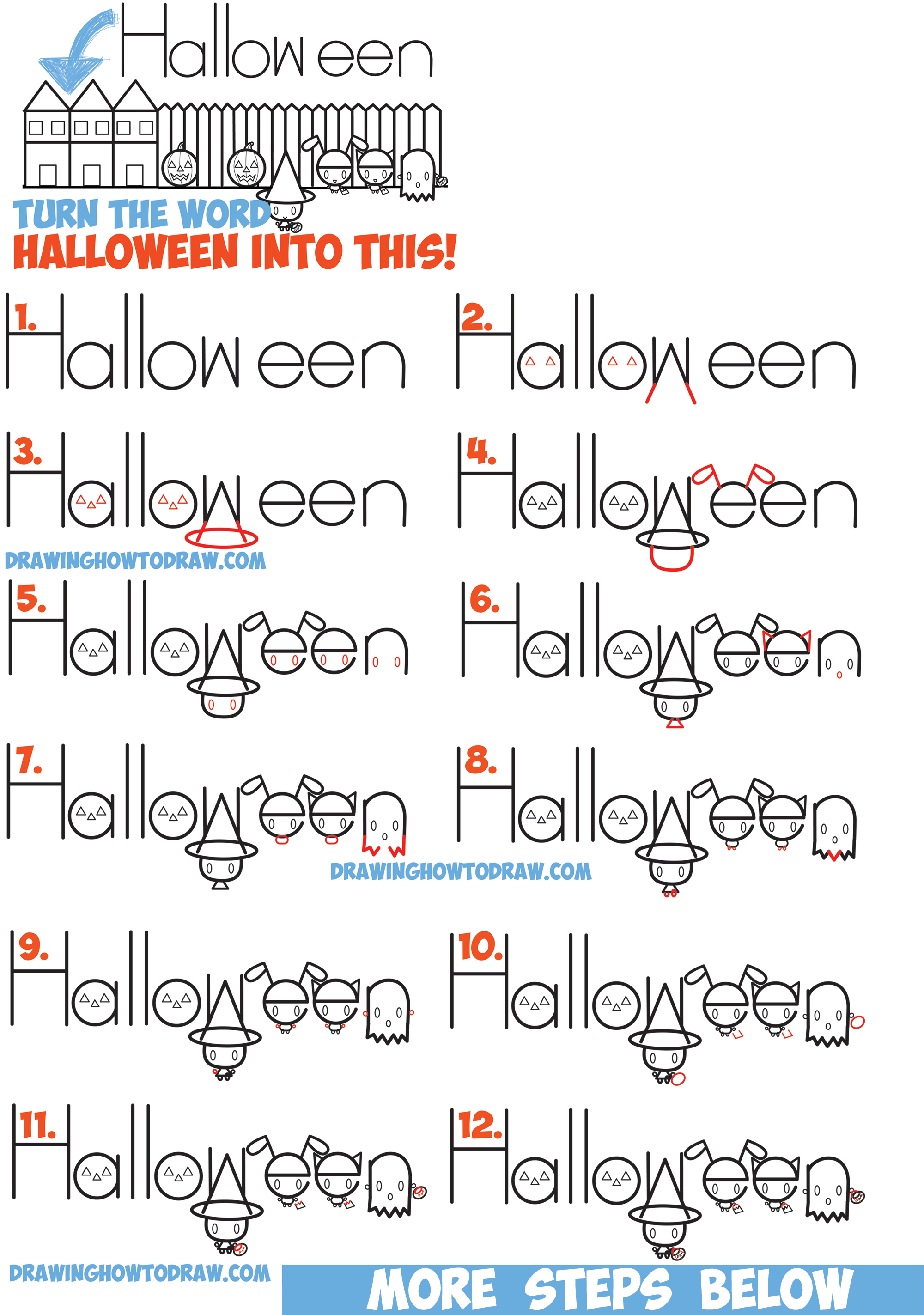 Easy Drawings For Kids Halloween Step By Step