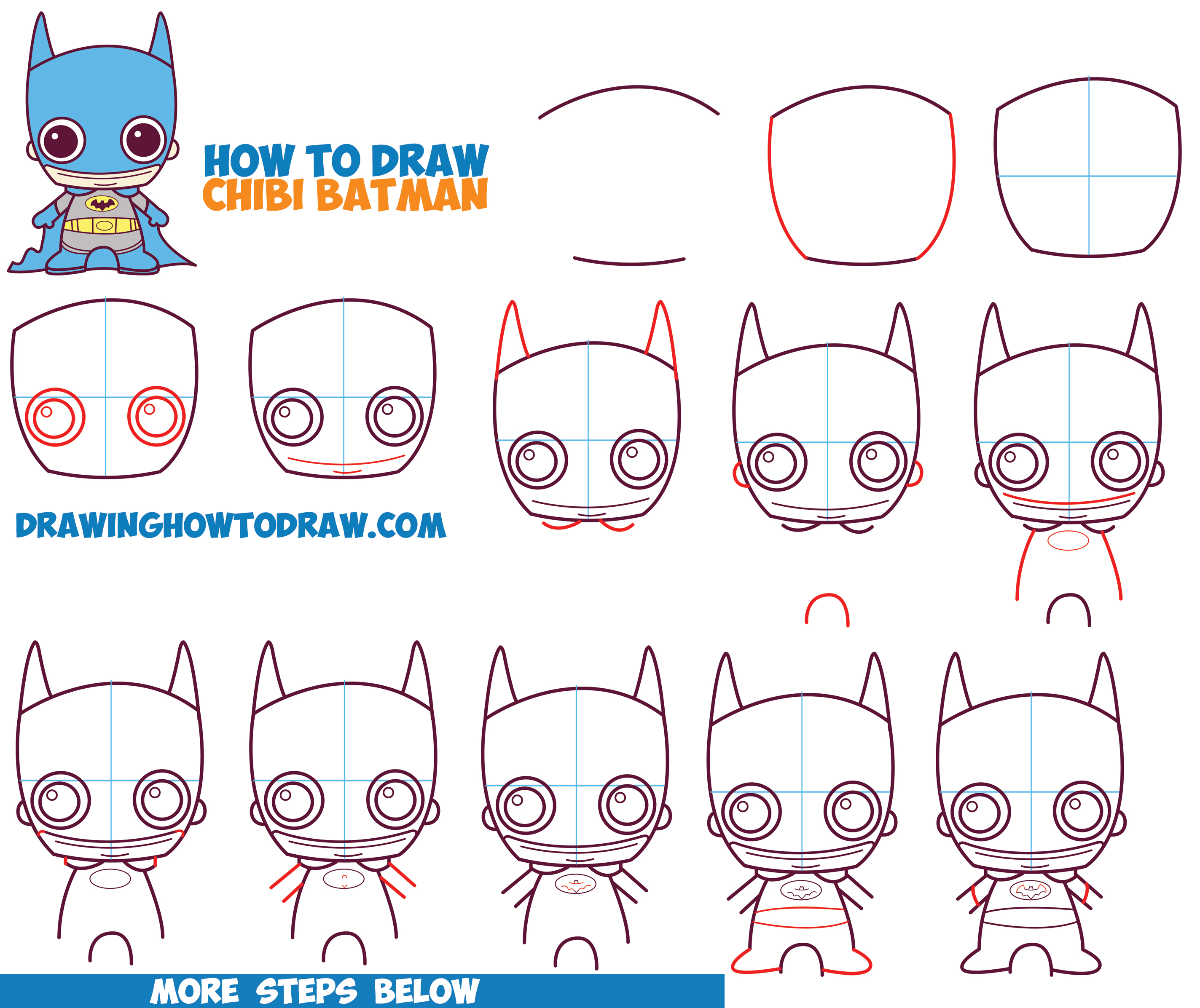 How to Draw Cute Chibi Batman from DC Comics in Easy Step by Step Drawing Tutorial for Kids