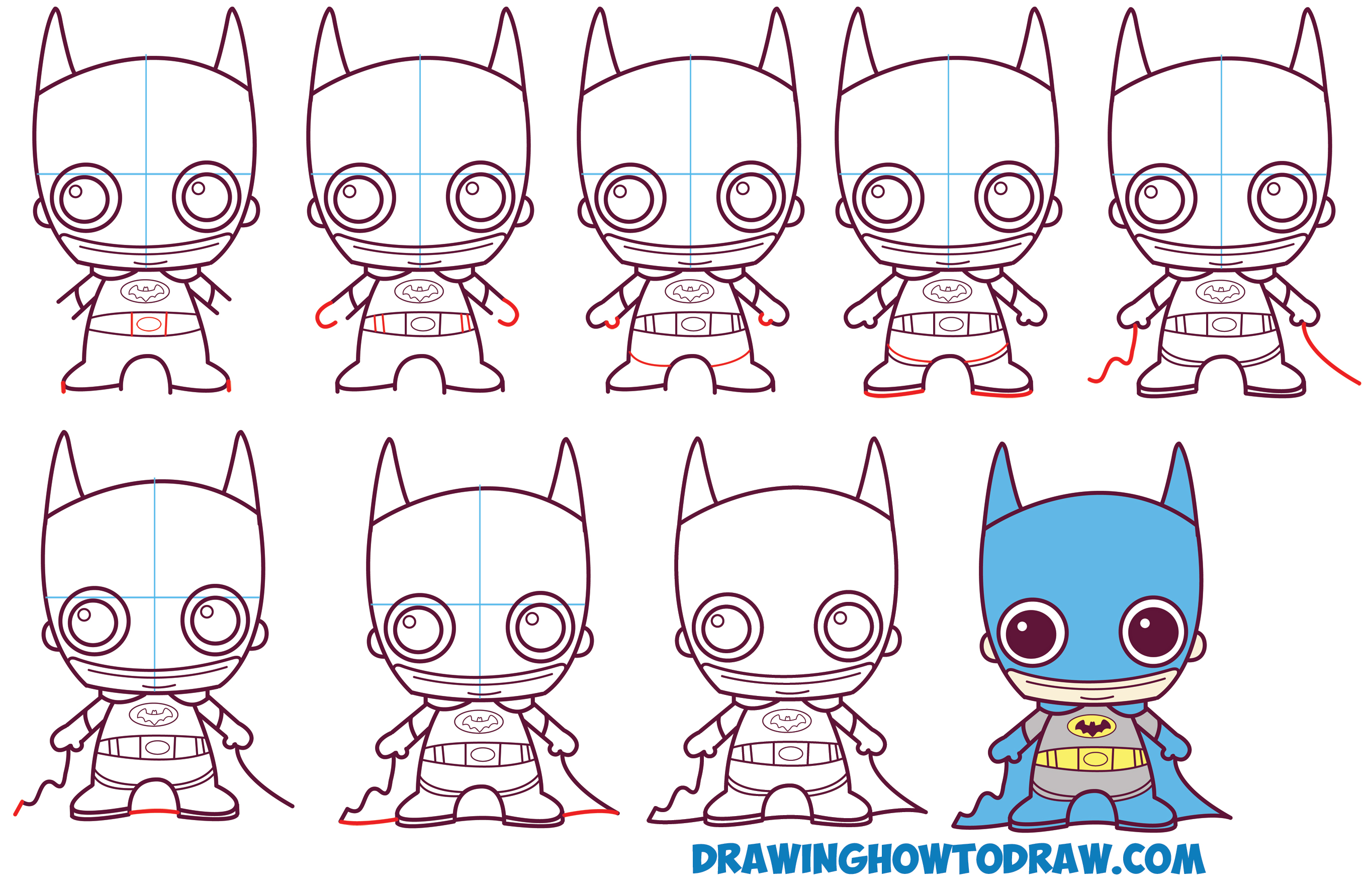 Learn How to Draw Cute / Baby / Kawaii / Chibi Batman from DC Comics in Simple Steps Drawing Lesson for Kids