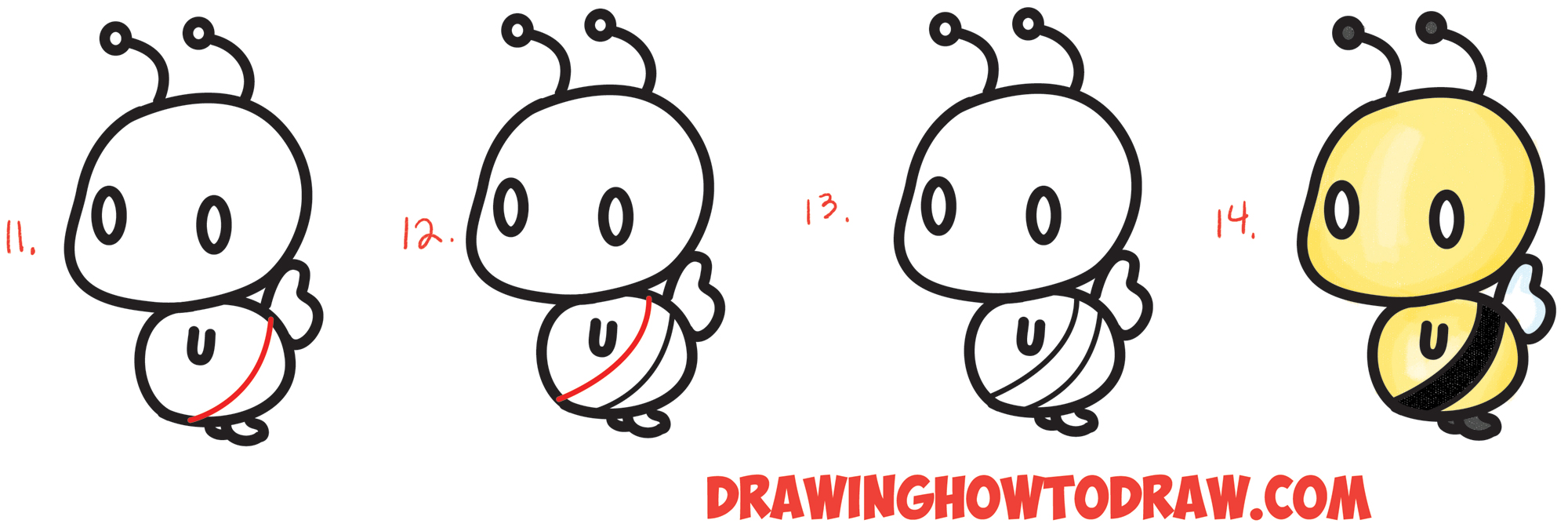 Learn How to Draw a Cute Chibi / Kawaii Cartoon #3 Shape Bumble Bee - Easy Step by Step Drawing Tutorial for Kids